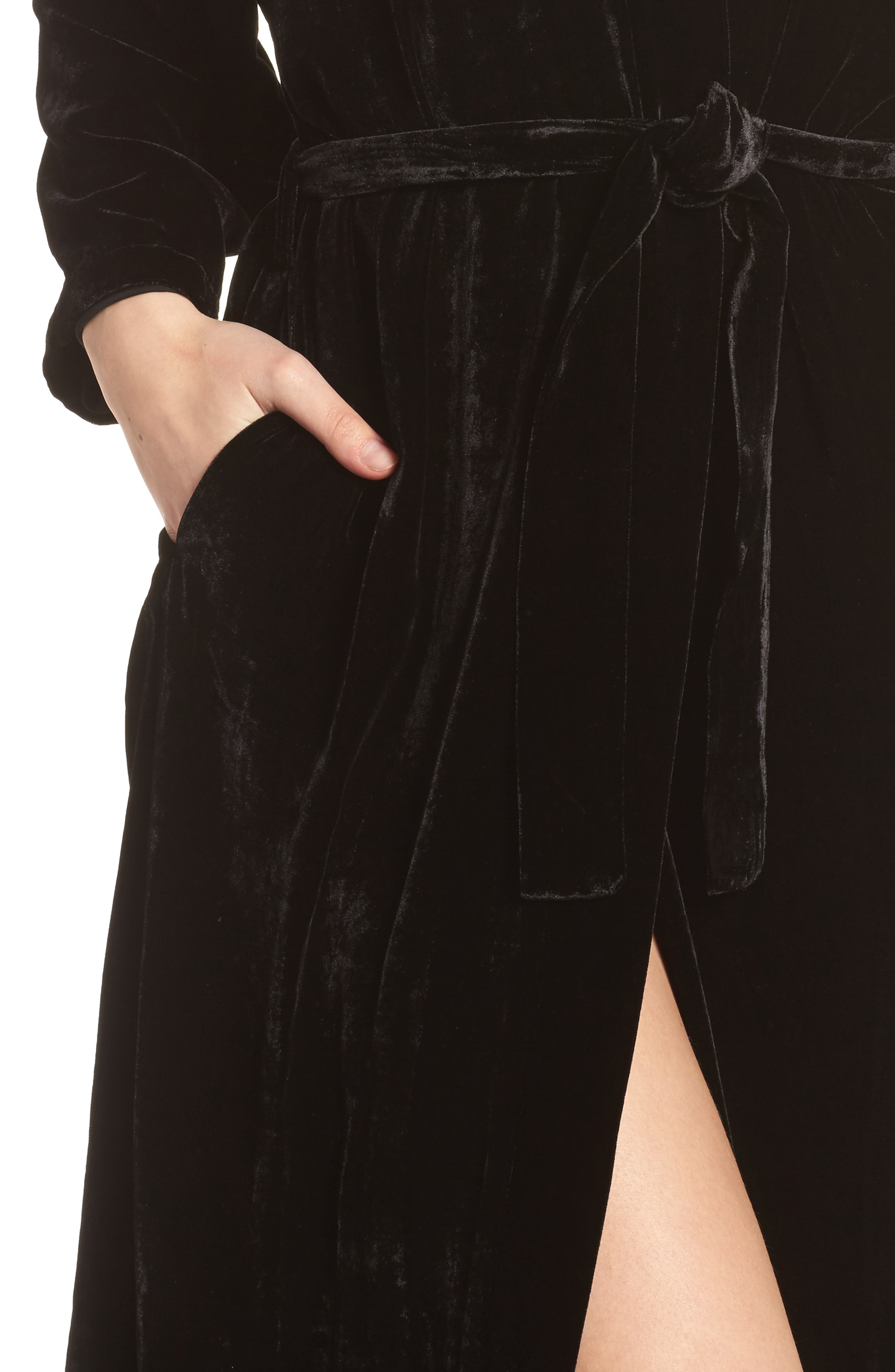 Long Velvet Robe,                             Alternate thumbnail 4, color,                             BLACK