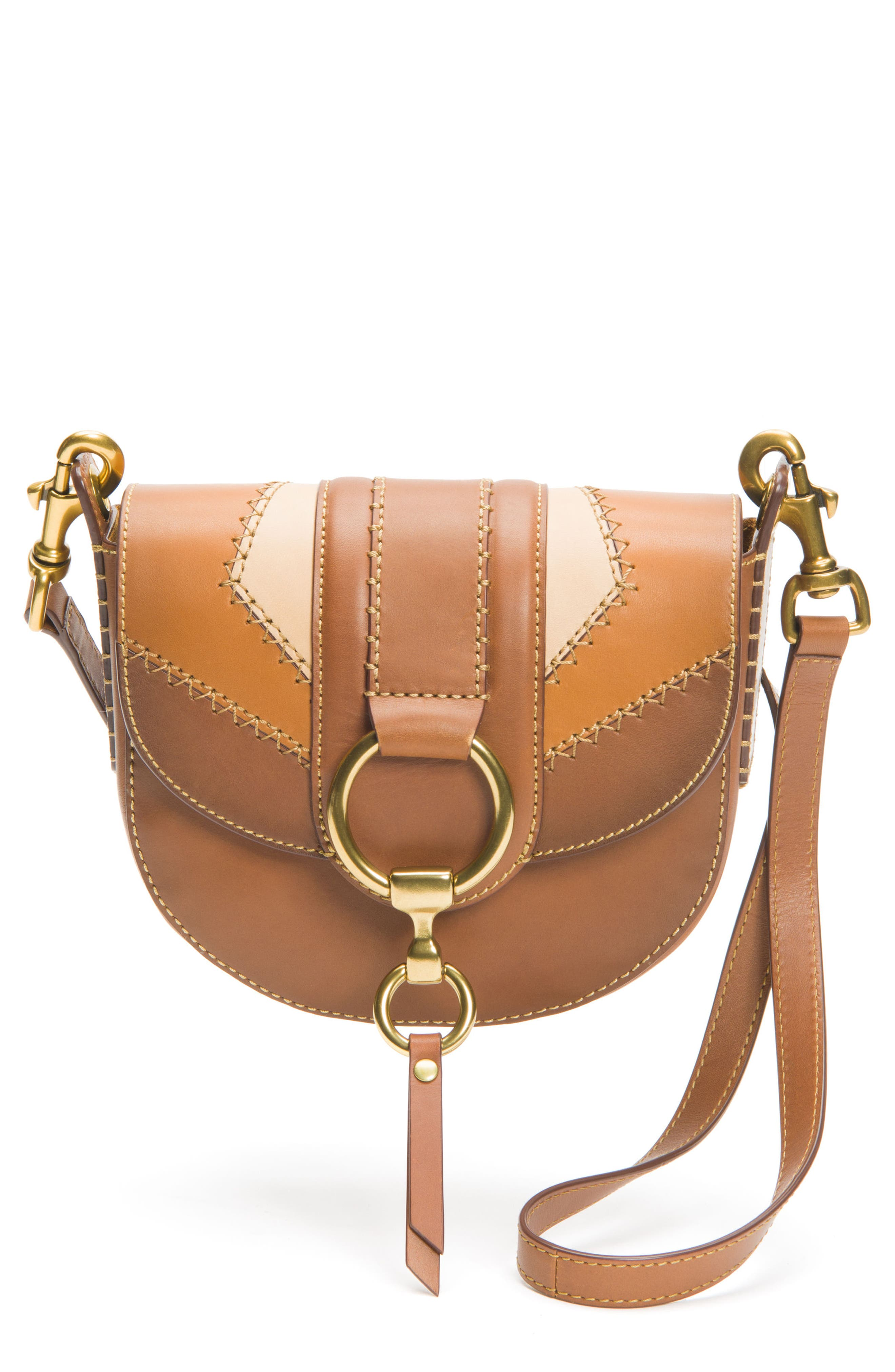 Small Ilana Colorblock Leather Saddle Bag,                         Main,                         color, 200