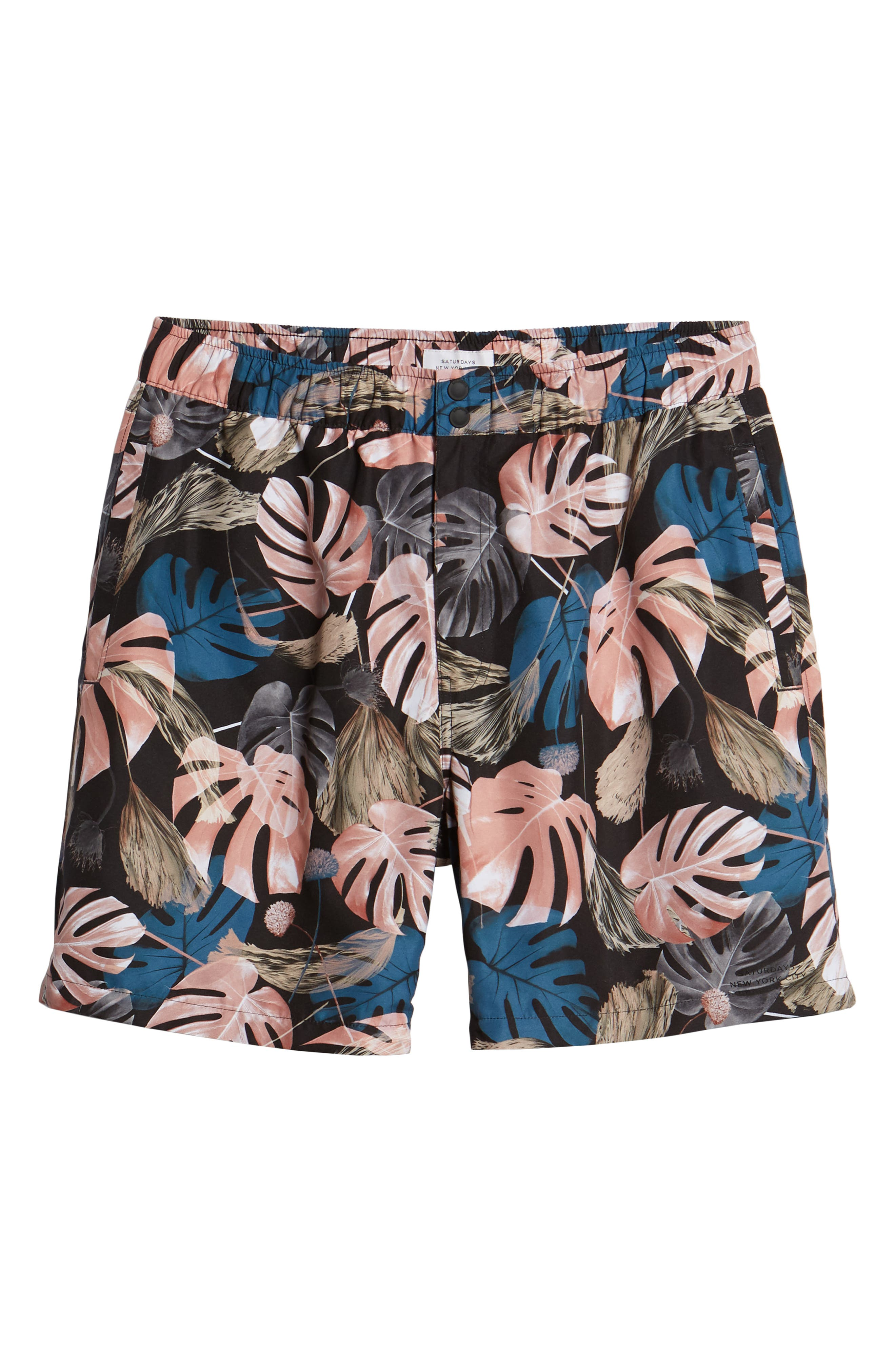 Trent Monstera Swim Shorts,                             Alternate thumbnail 6, color,                             001