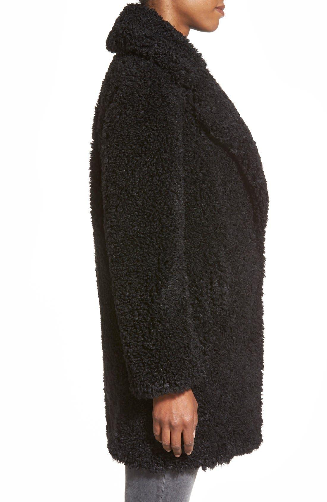 KENSIE,                             'Teddy Bear' Notch Collar Reversible Faux Fur Coat,                             Alternate thumbnail 4, color,                             001