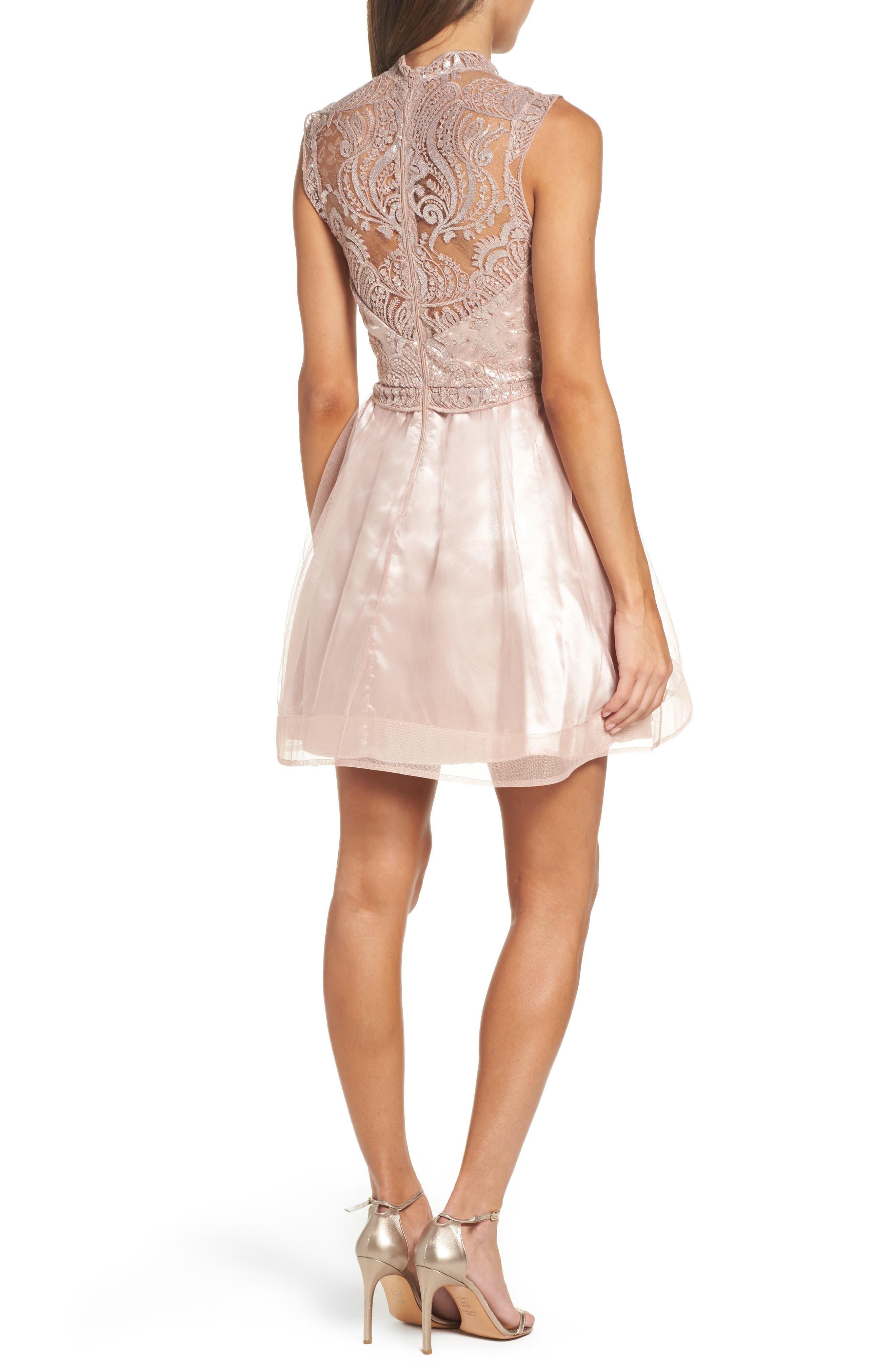 Lace Illusion Fit & Flare Dress,                             Alternate thumbnail 2, color,                             510