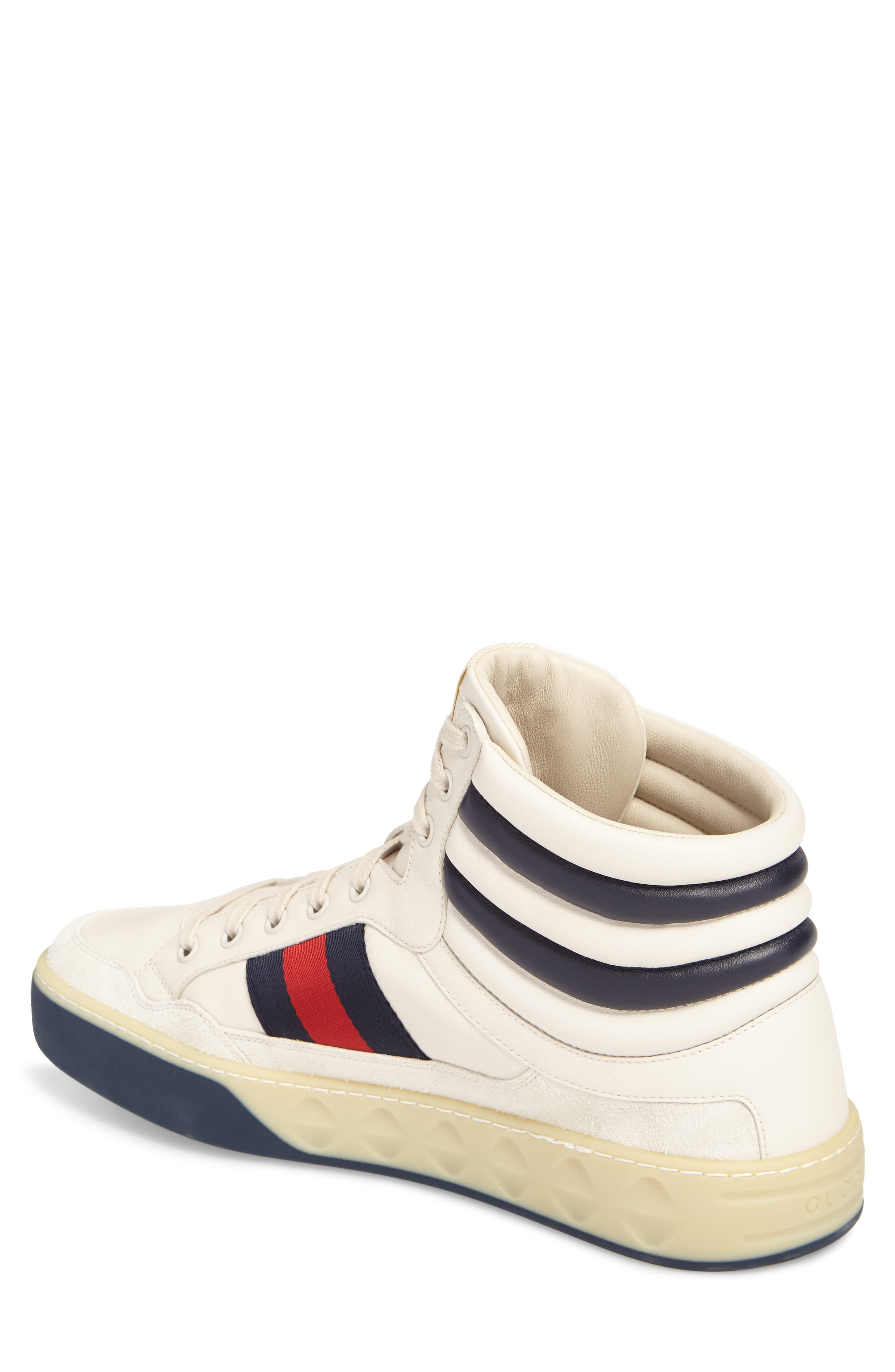 Leather High Top Sneaker,                             Alternate thumbnail 2, color,                             WHITE LEATHER/ SUEDE