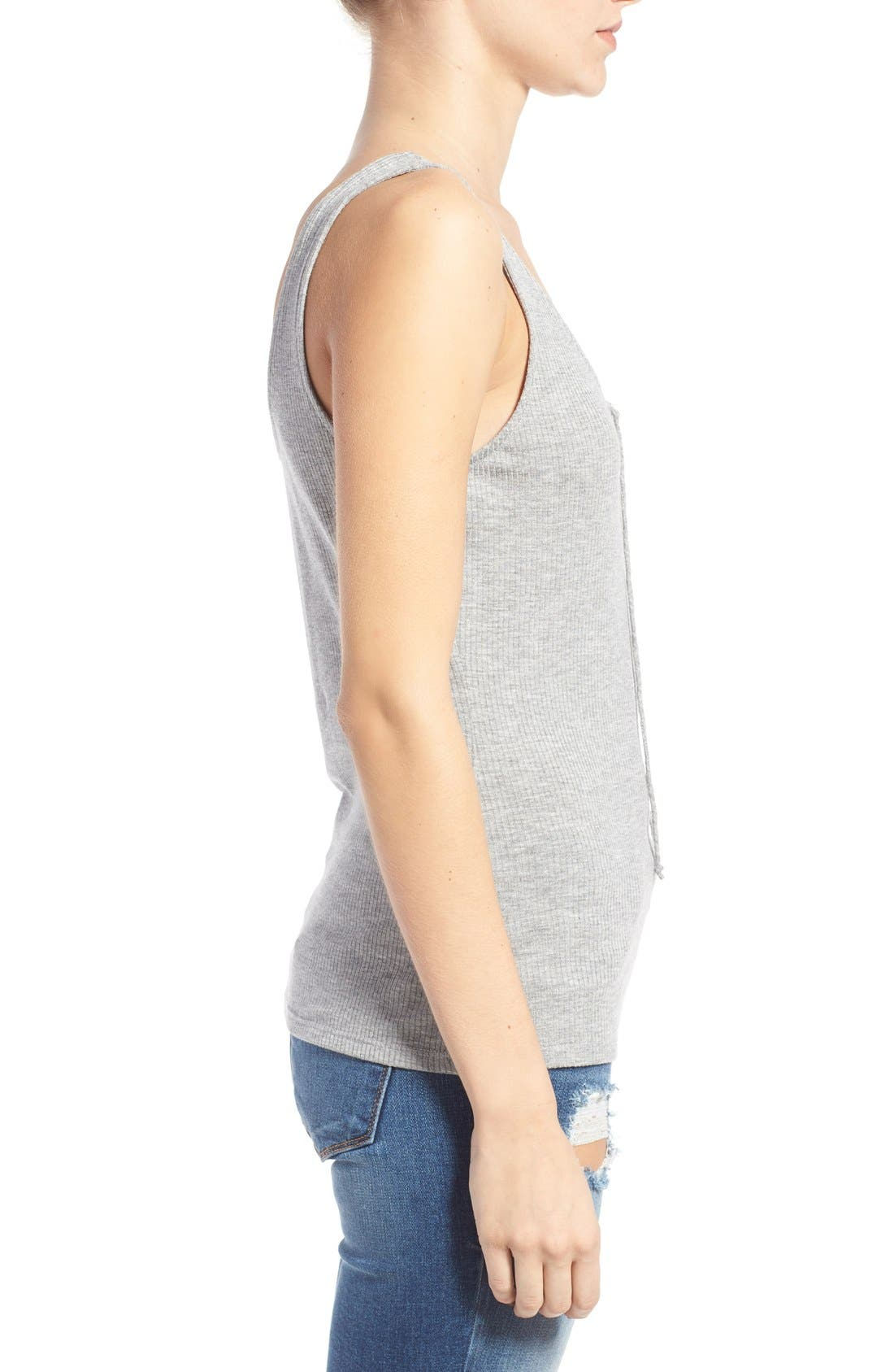 BP.,                             Lace-Up Ribbed Tank,                             Alternate thumbnail 3, color,                             030