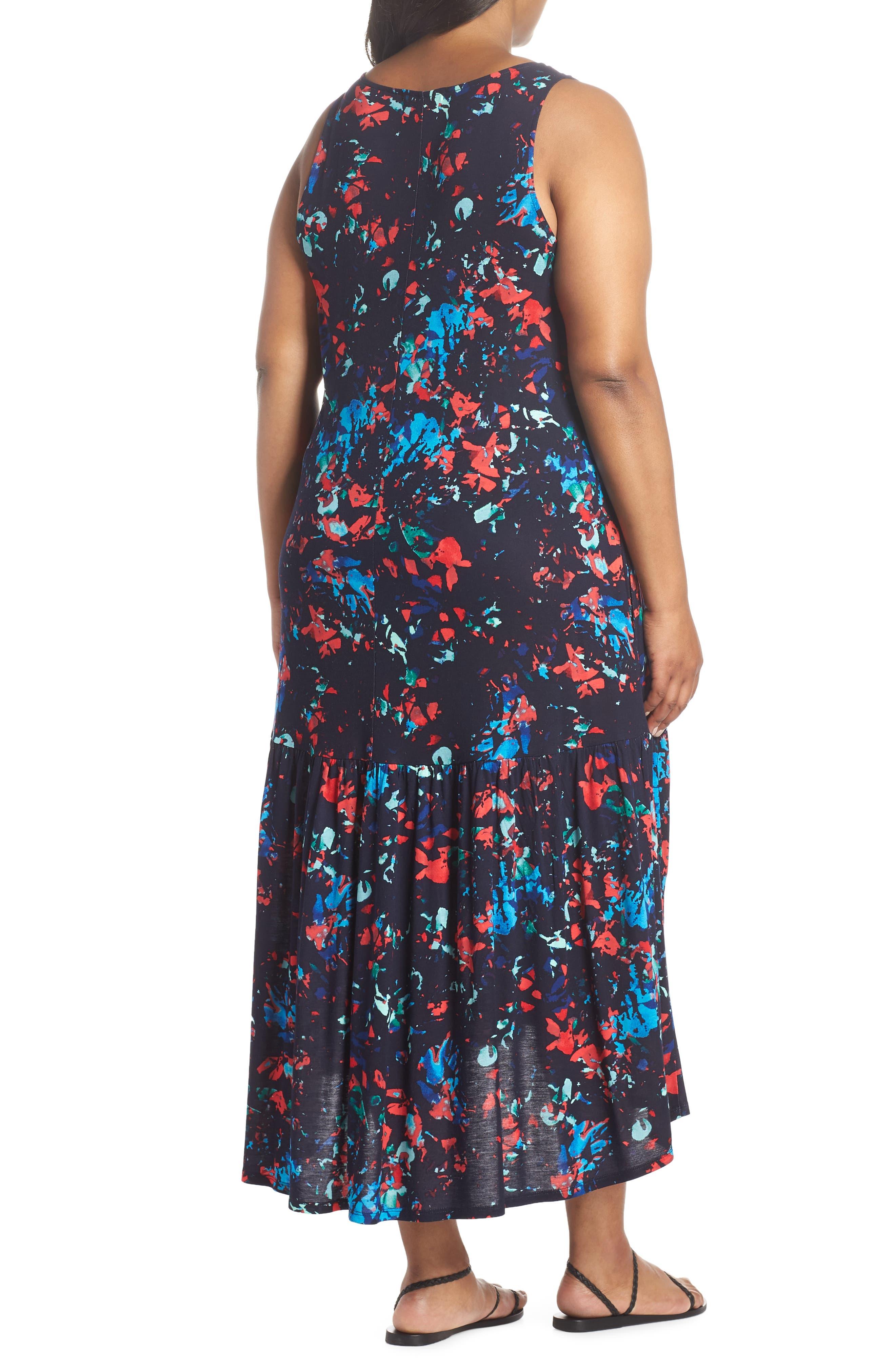 Sleeveless High/Low Knit Maxi Dress,                             Alternate thumbnail 2, color,                             NAVY- RED SPLASH FLORA PRINT