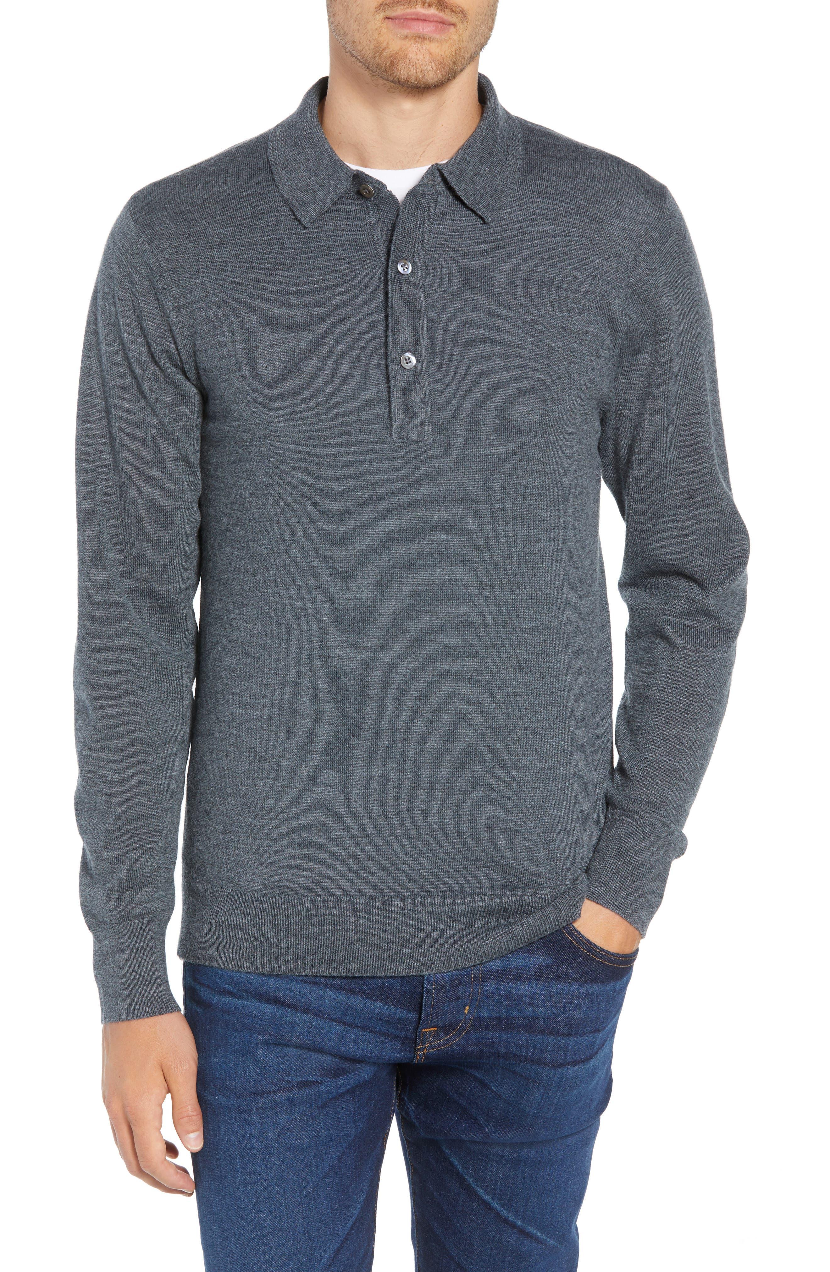 Slim Fit Long Sleeve Merino Wool Polo,                         Main,                         color, HEATHER SLATE