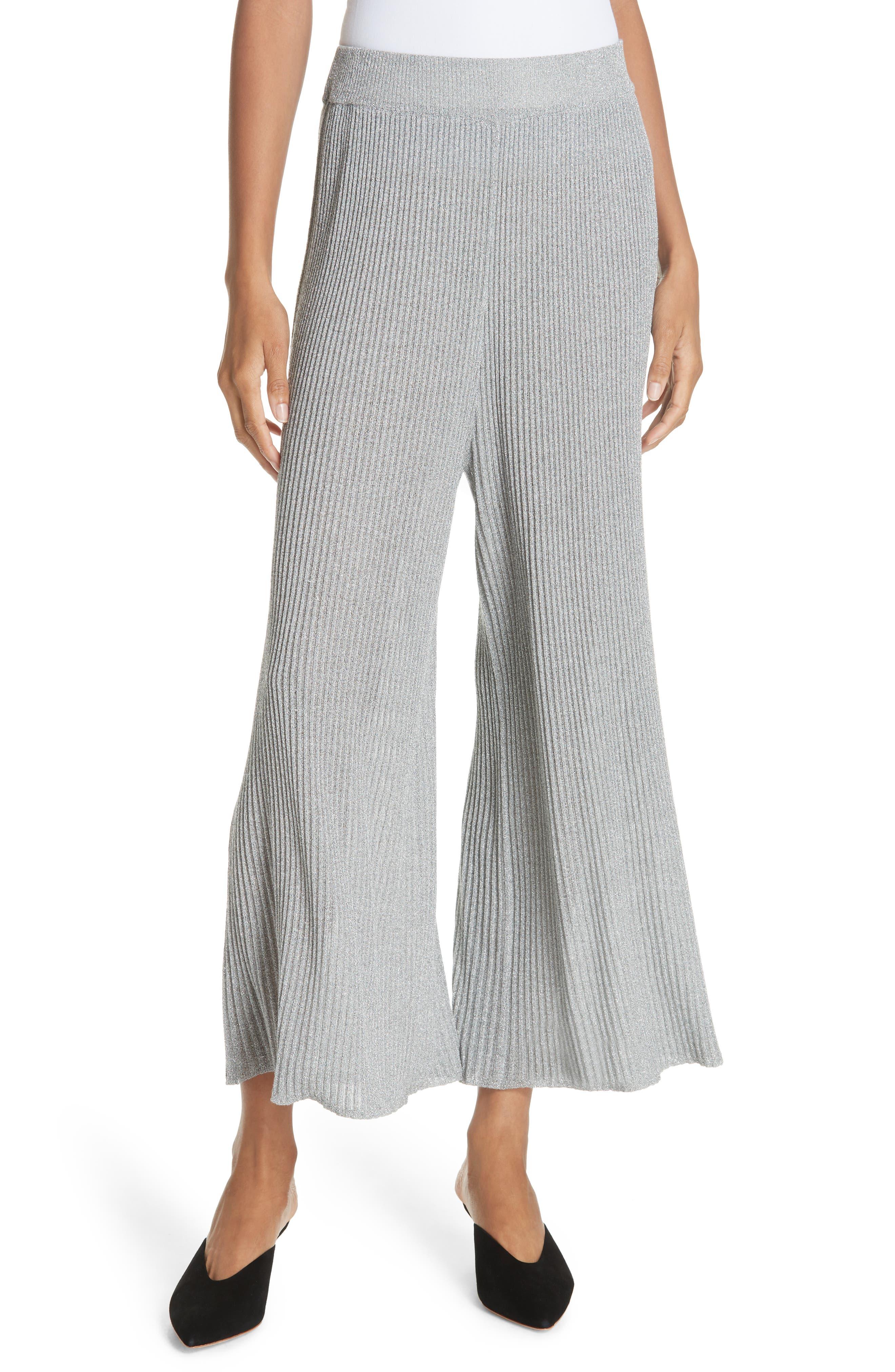 Mikhaela Knit Pants,                         Main,                         color, SILVER