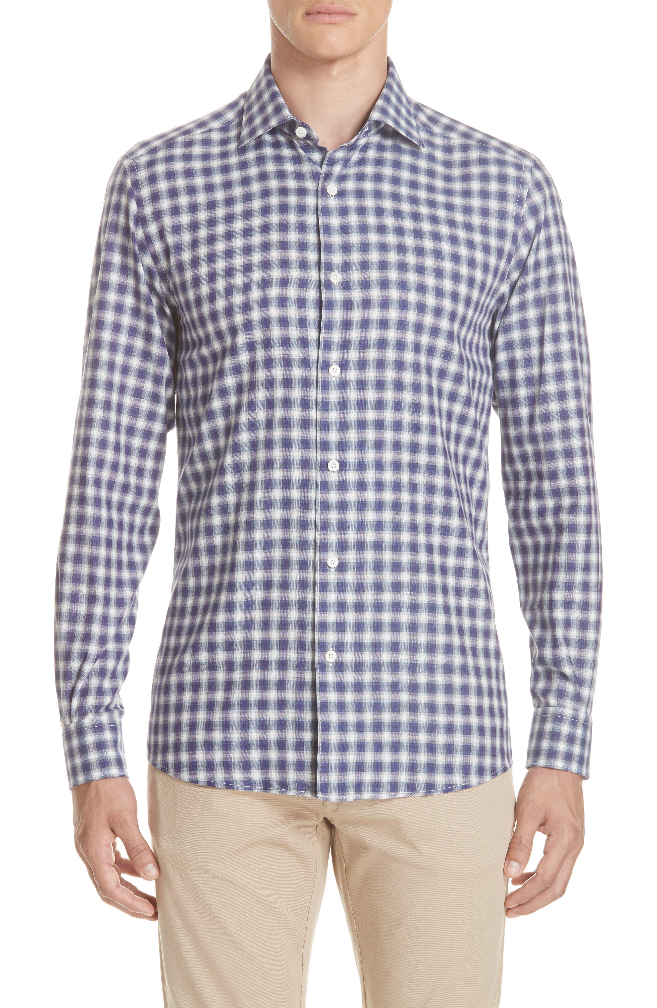 Classic Fit Check Sport Shirt,                         Main,                         color, PURPLE