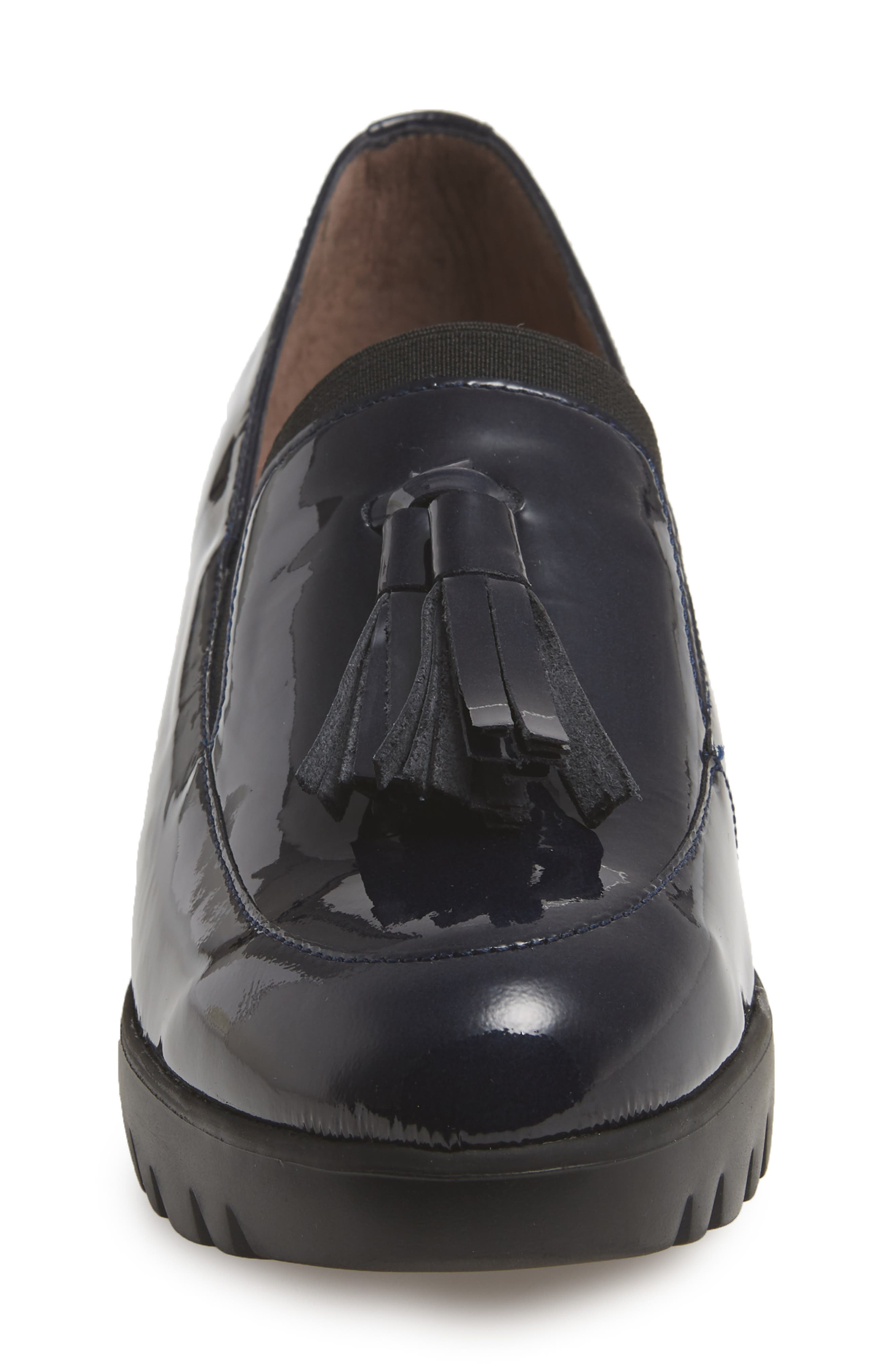 Talla Loafer Wedge,                             Alternate thumbnail 4, color,                             NAVY PATENT LEATHER