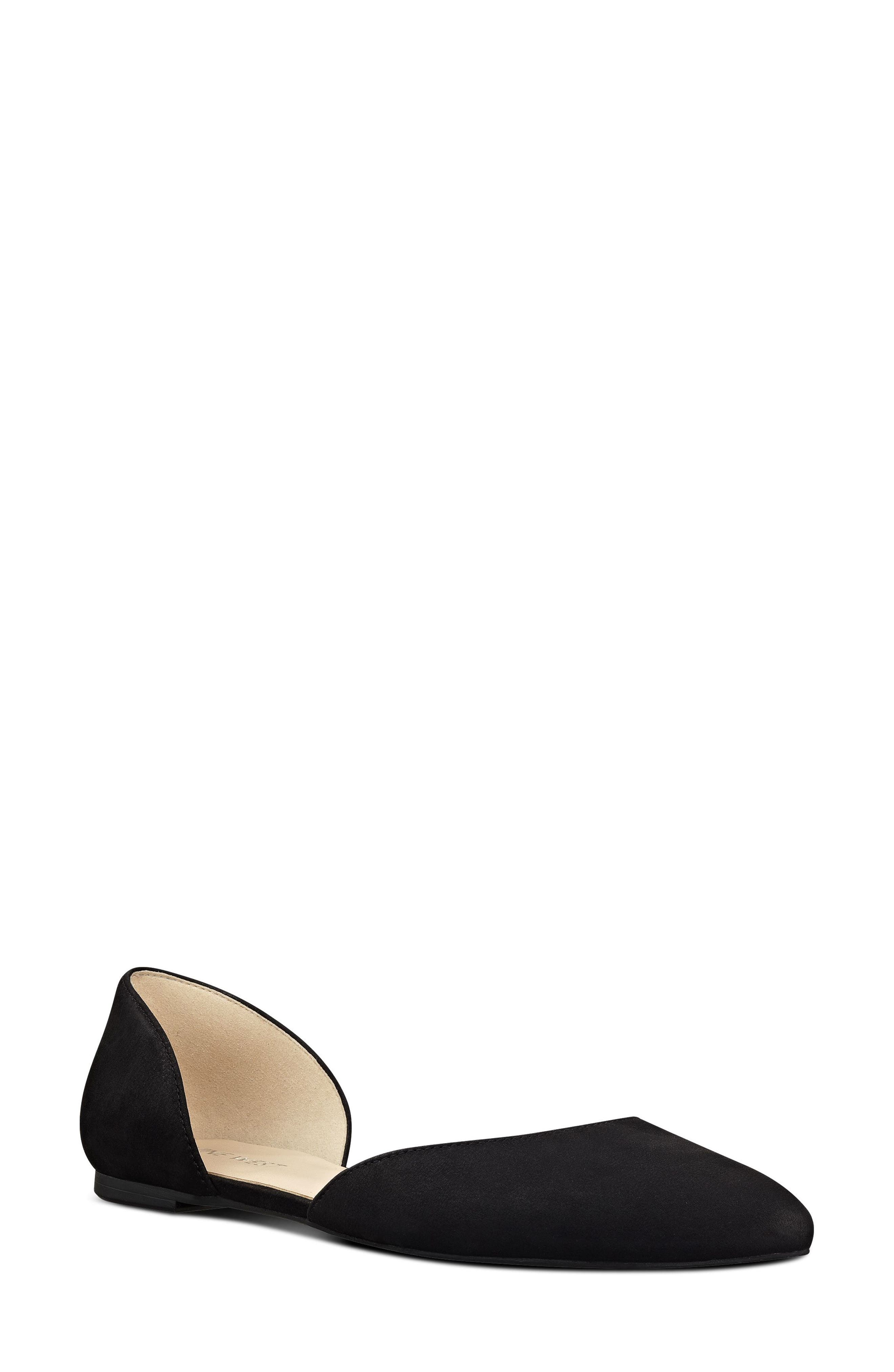 Starship d'Orsay Flat, Main, color, BLACK/ BLACK SUEDE