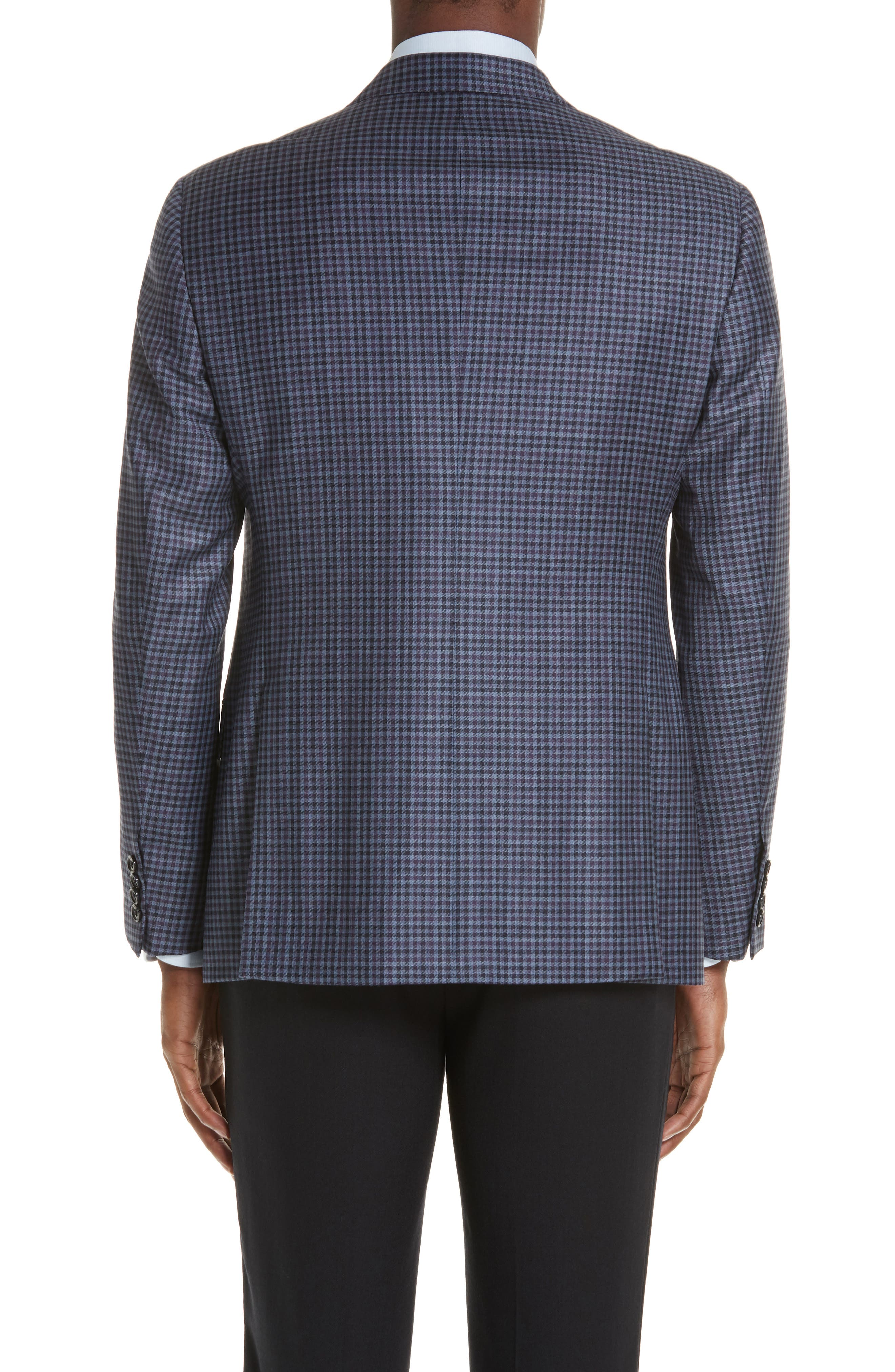 G Line Trim Fit Check Wool Sport Coat,                             Alternate thumbnail 2, color,                             PURPLE