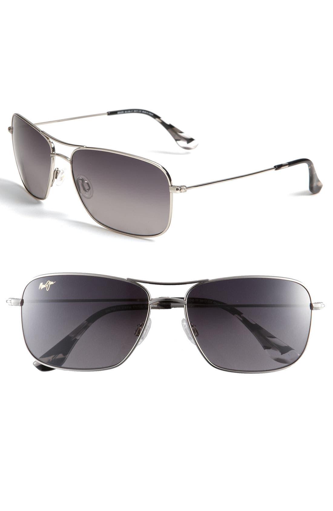 Wiki Wiki 59mm PolarizedPlus2<sup>®</sup> Aviator Sunglasses,                         Main,                         color, SILVER/ NEUTRAL GREY