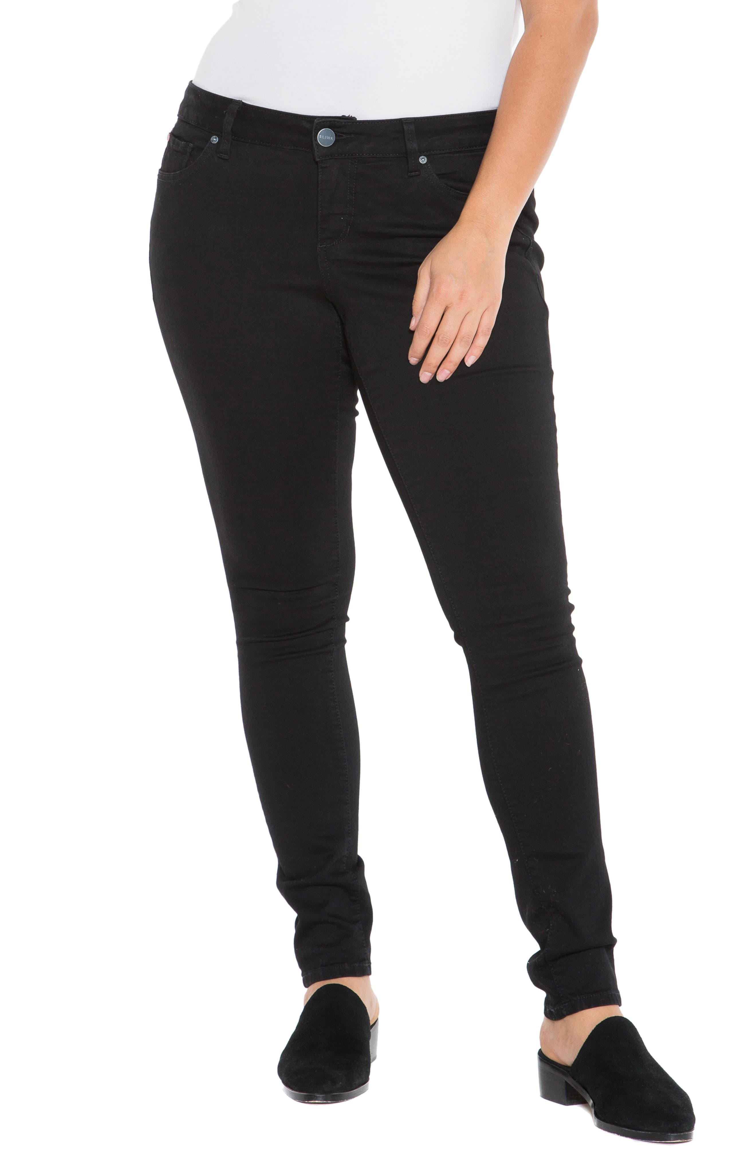 'The Skinny' Stretch Denim Jeans,                             Alternate thumbnail 6, color,                             BLACK