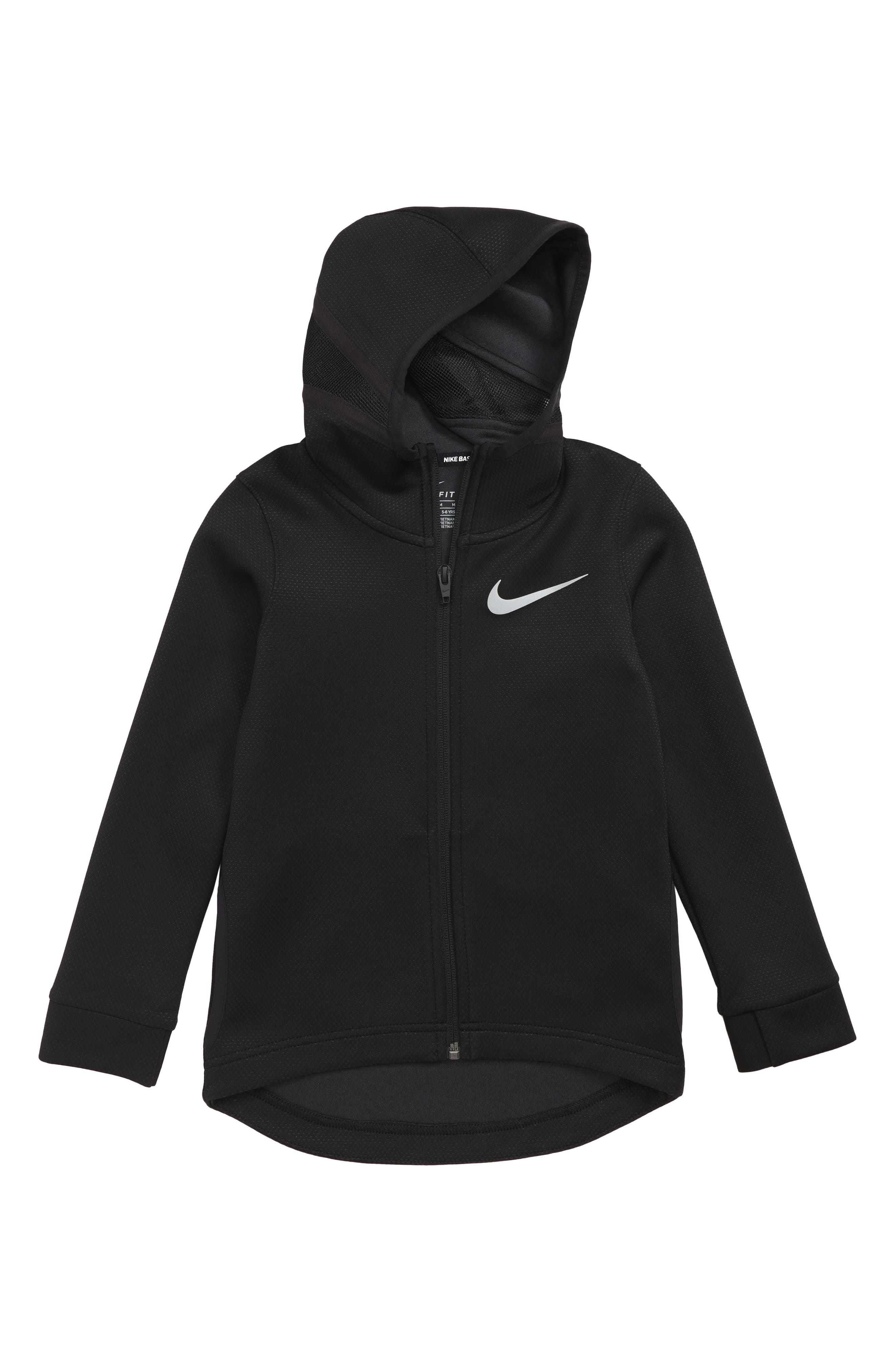 Therma Flex Dry Stretch Basketball Hoodie,                             Main thumbnail 1, color,                             BLACK