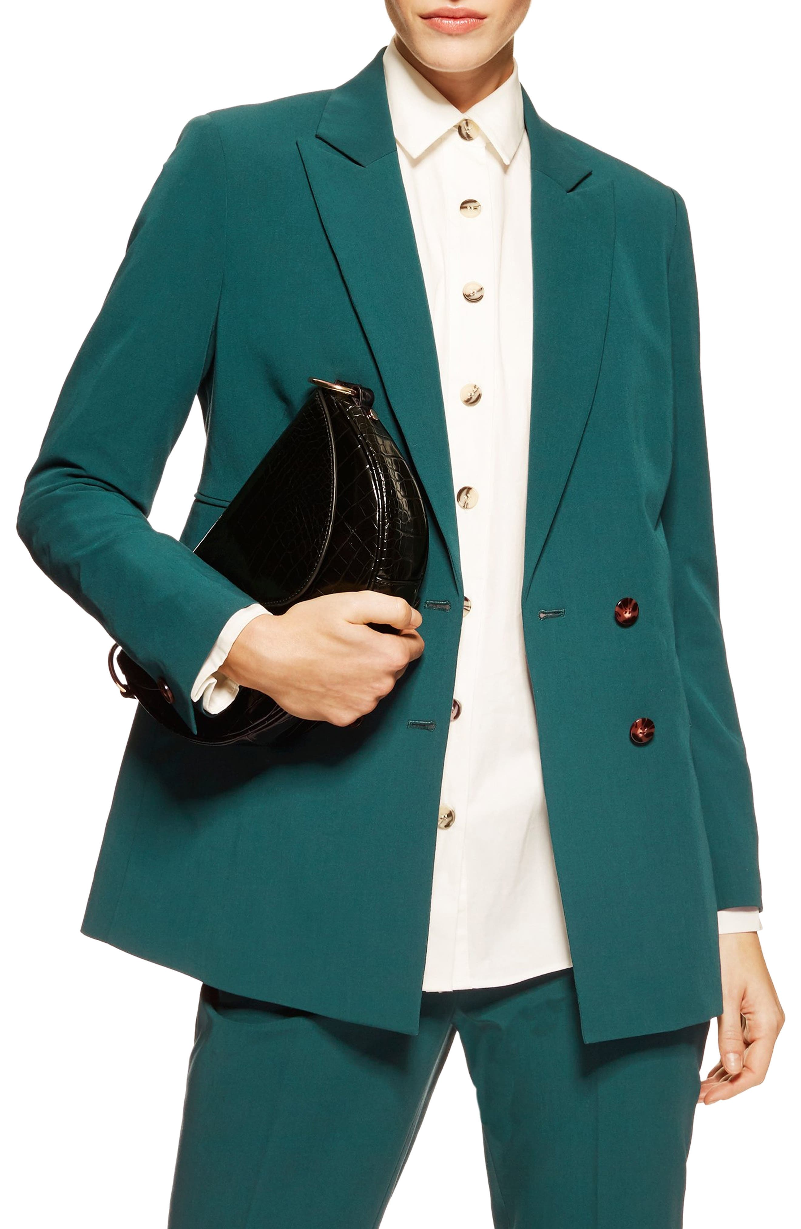 Double Breasted Jacket,                             Main thumbnail 1, color,                             DARK GREEN