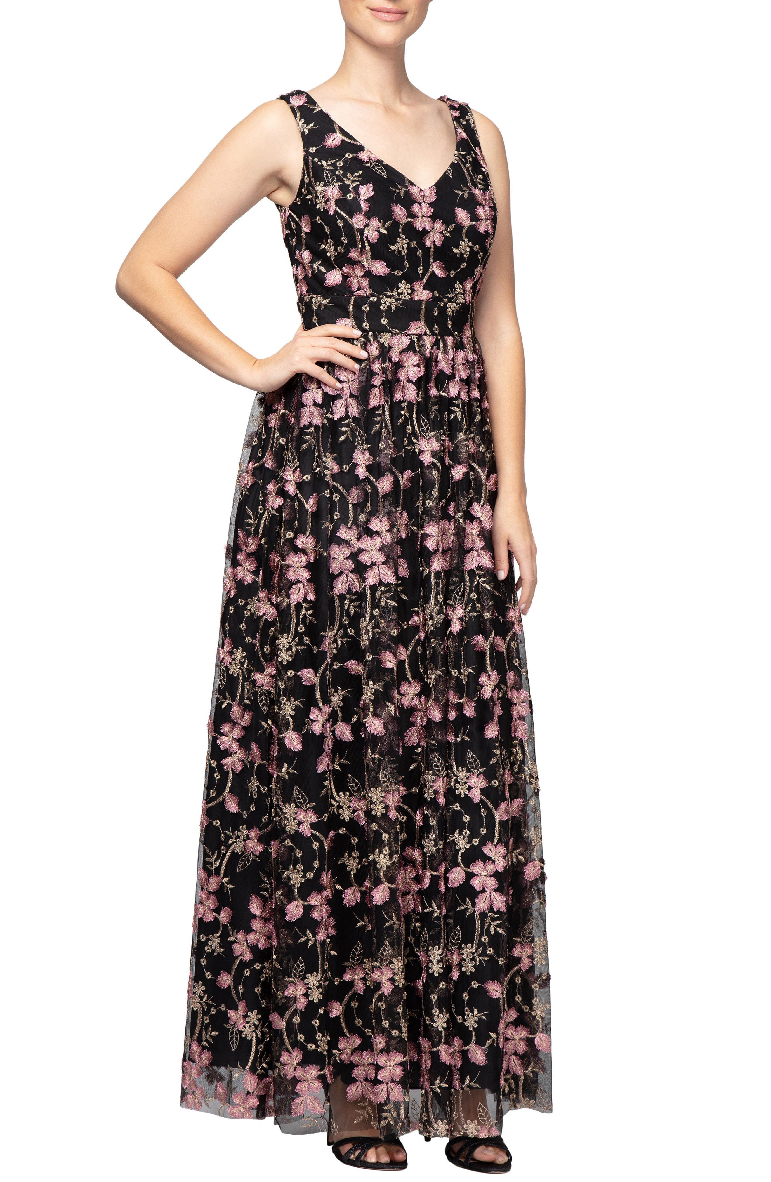 Alex Evenings Embroidered V-Neck Gown, Black
