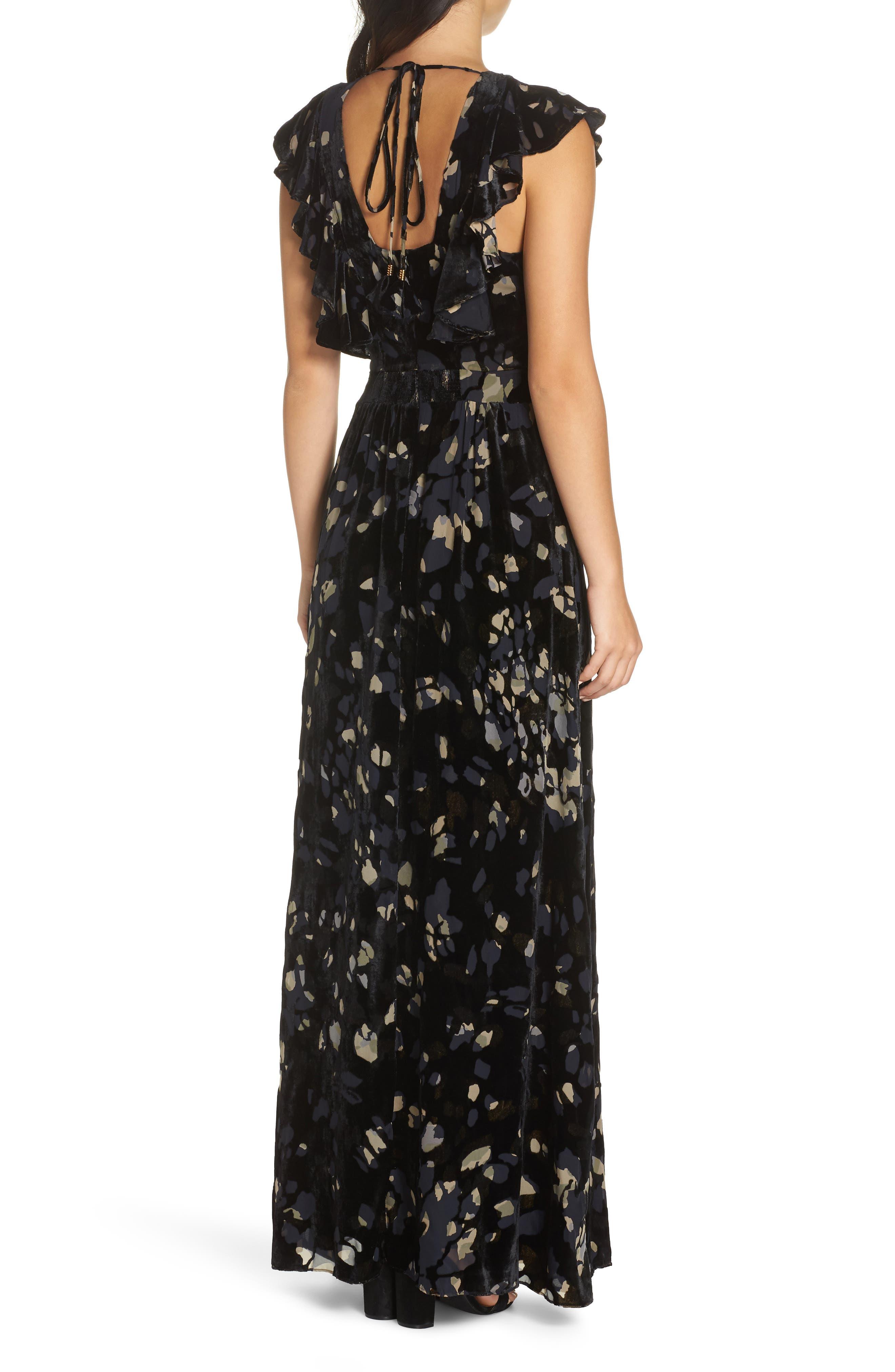 Velvet Maxi Dress,                             Alternate thumbnail 2, color,                             001