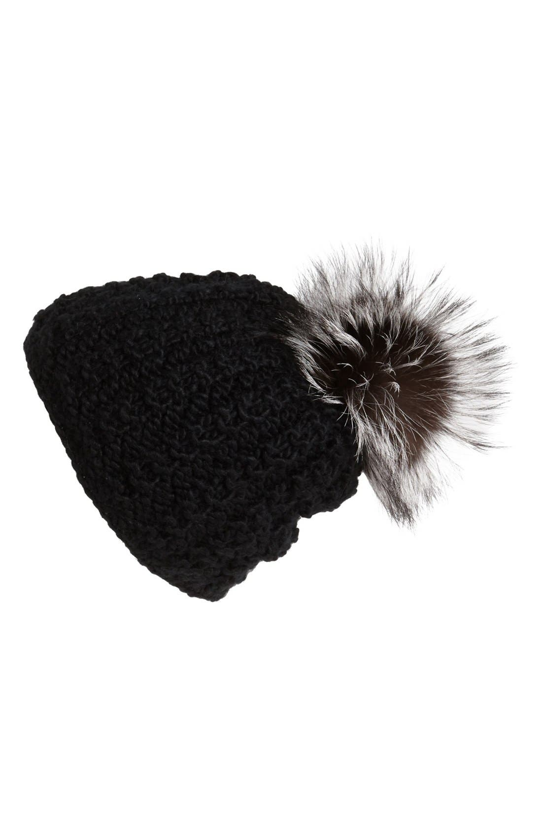 Genuine Fox Pompom Hat,                             Main thumbnail 7, color,