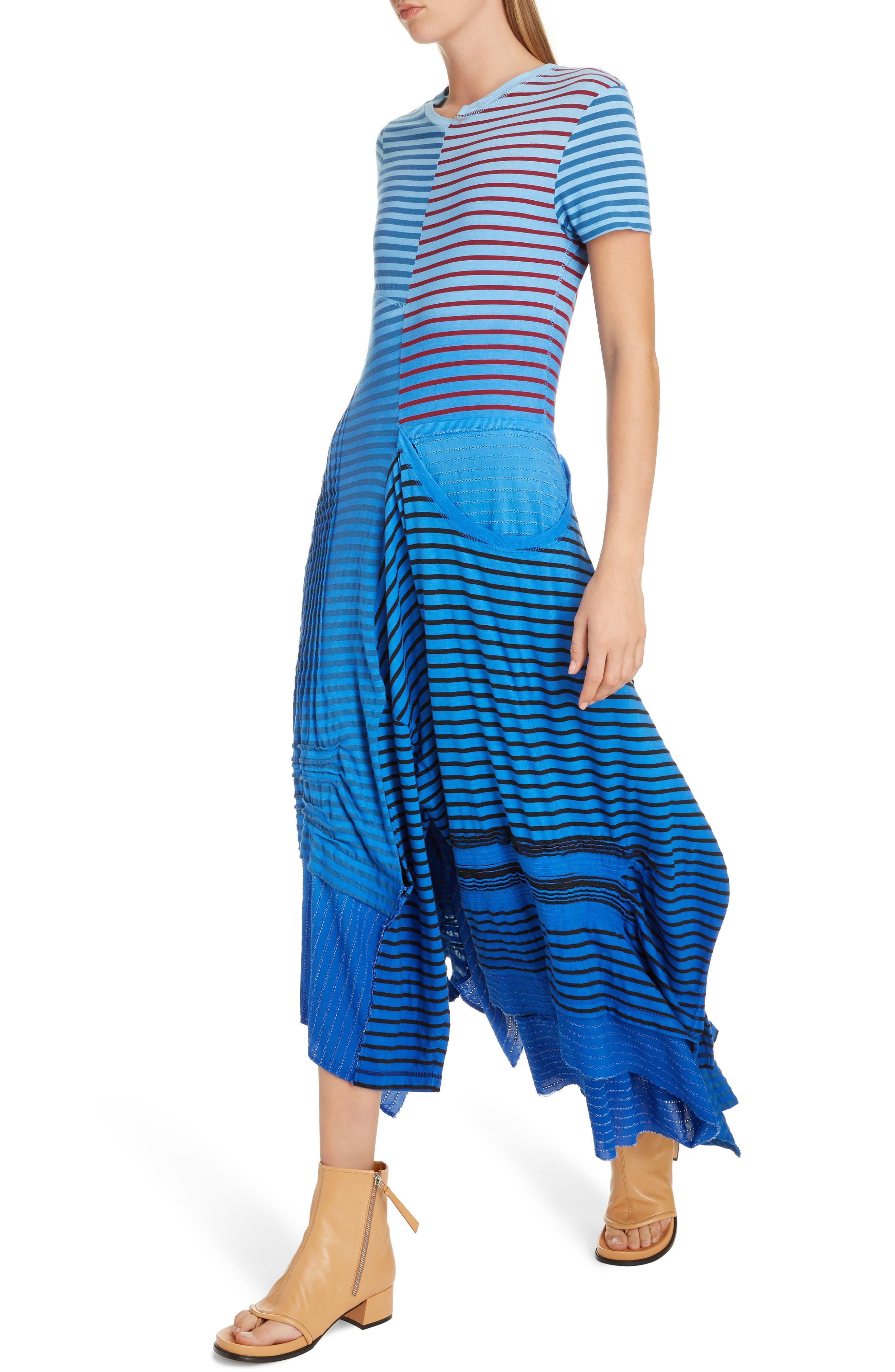 LOEWE,                             Stripe Tie Dye Asymmetrical Dress,                             Alternate thumbnail 4, color,                             5100 BLUE