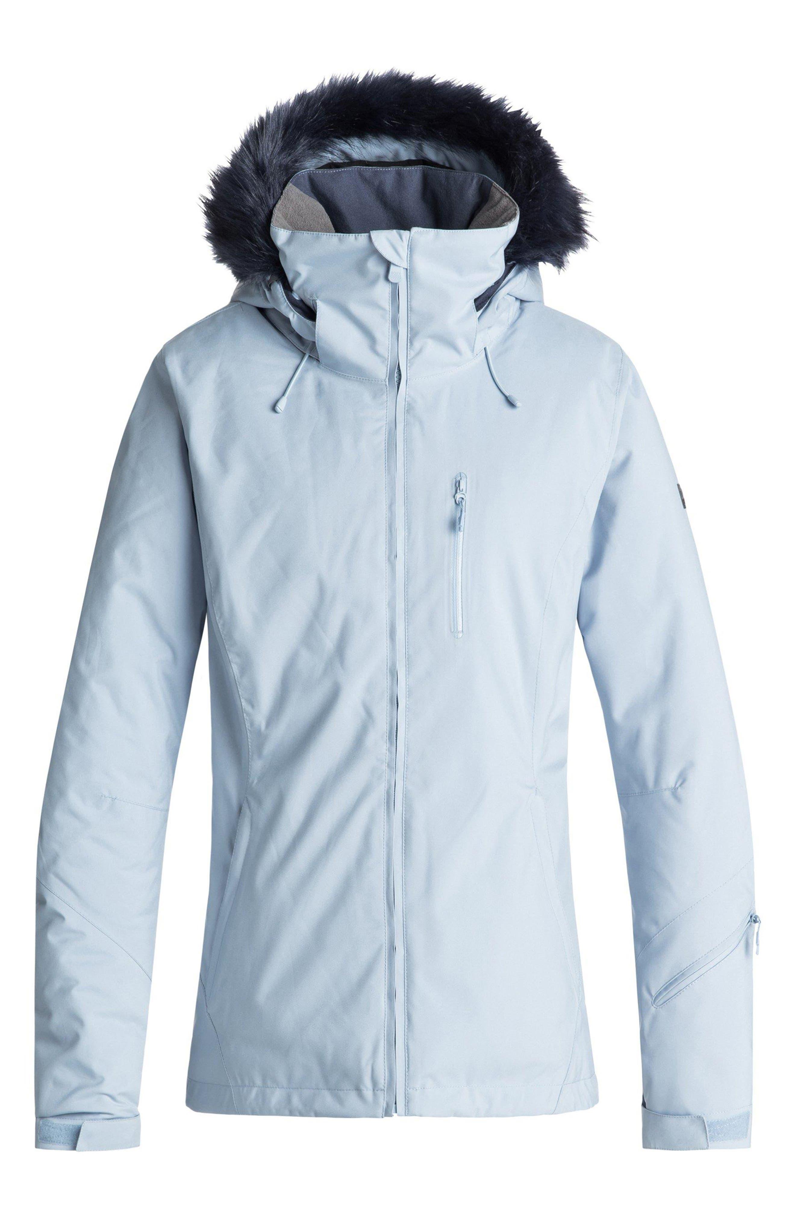 Down the Line Snow Jacket with Faux Fur Trim,                         Main,                         color, POWDER BLUE