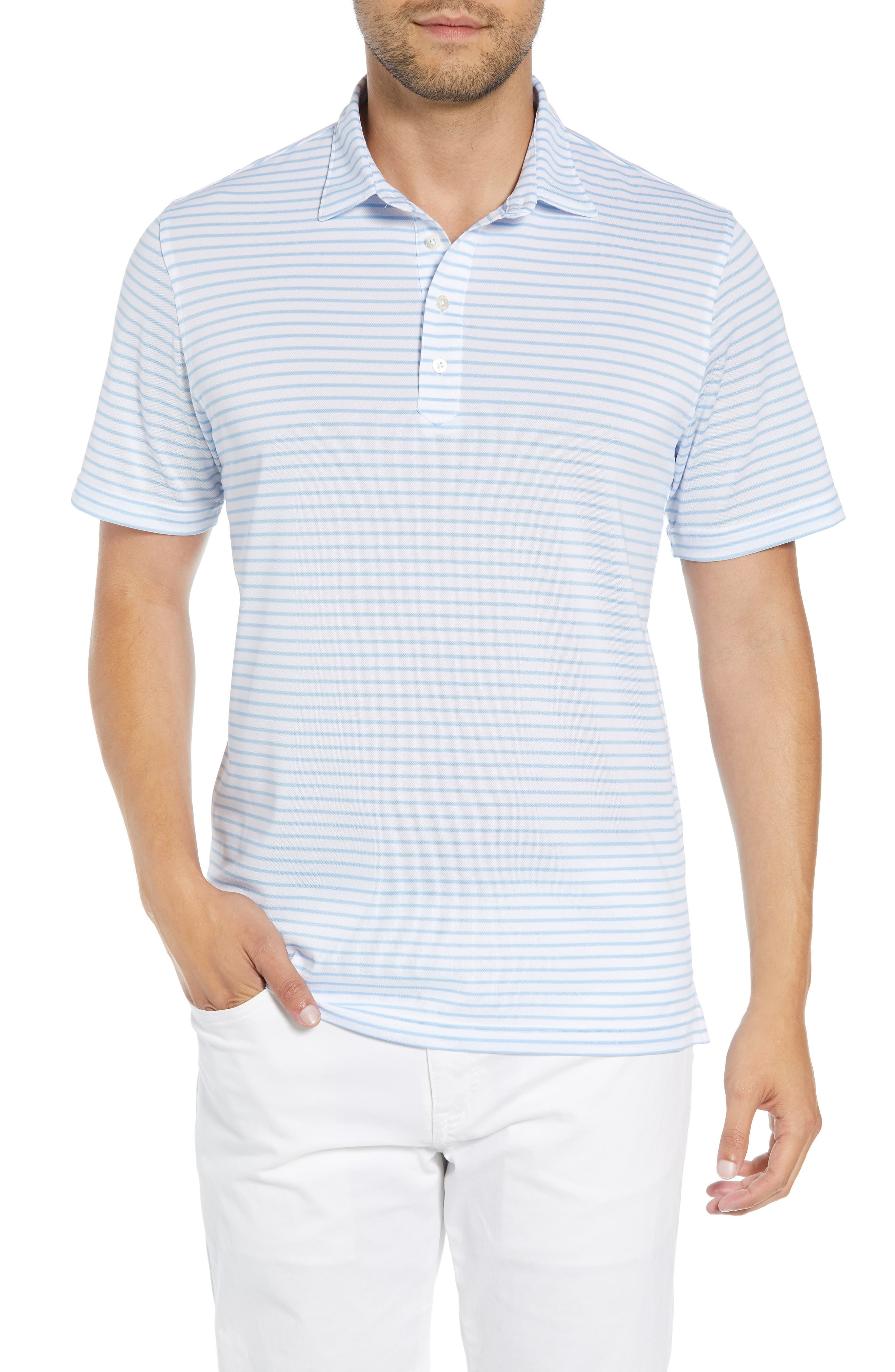 Myers Regular Fit Stripe Prep-Formance Polo,                         Main,                         color, WHITE/GULFBLUE
