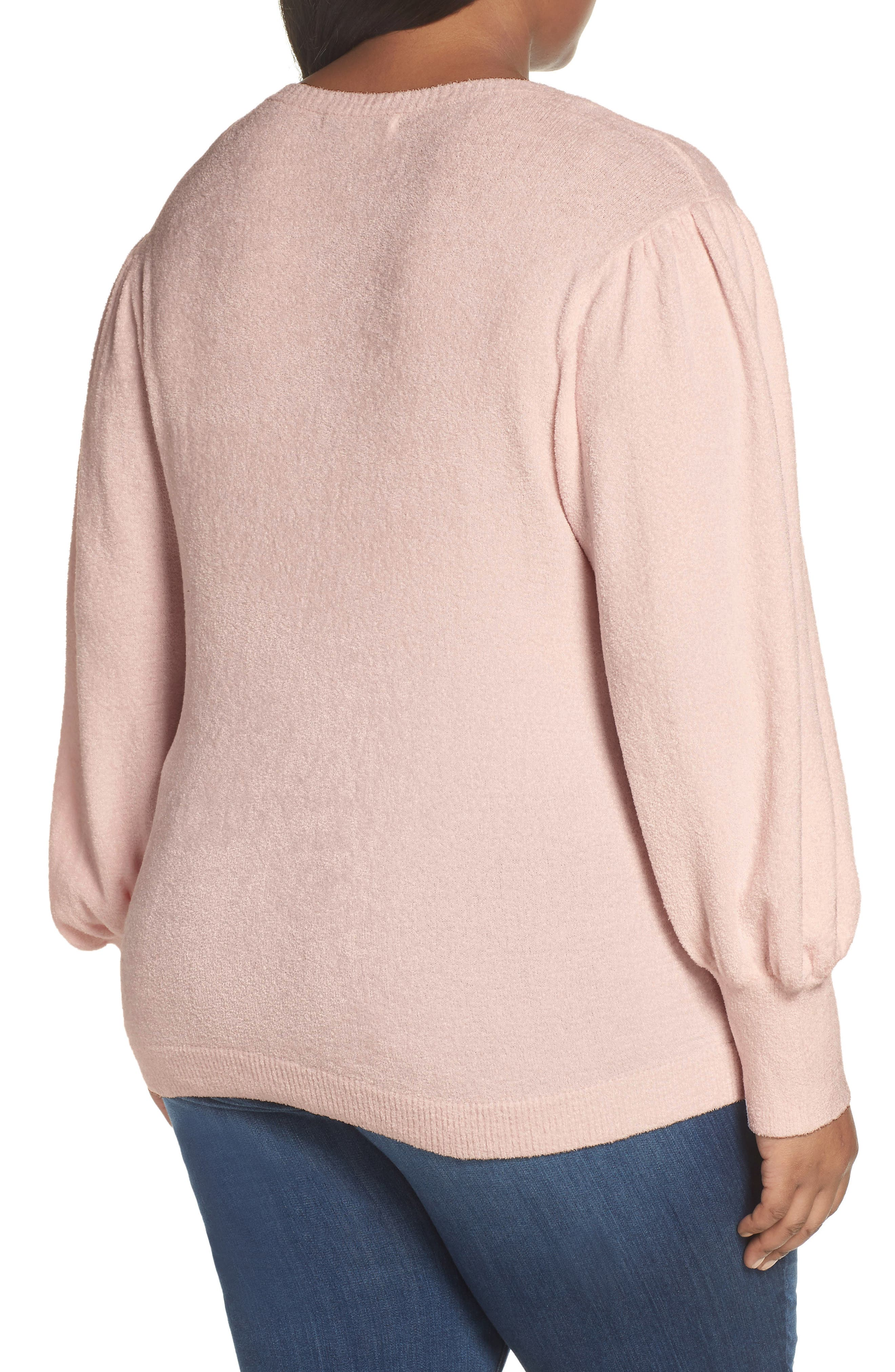 Puff Sleeve Sweater,                             Alternate thumbnail 2, color,                             PINK HERO