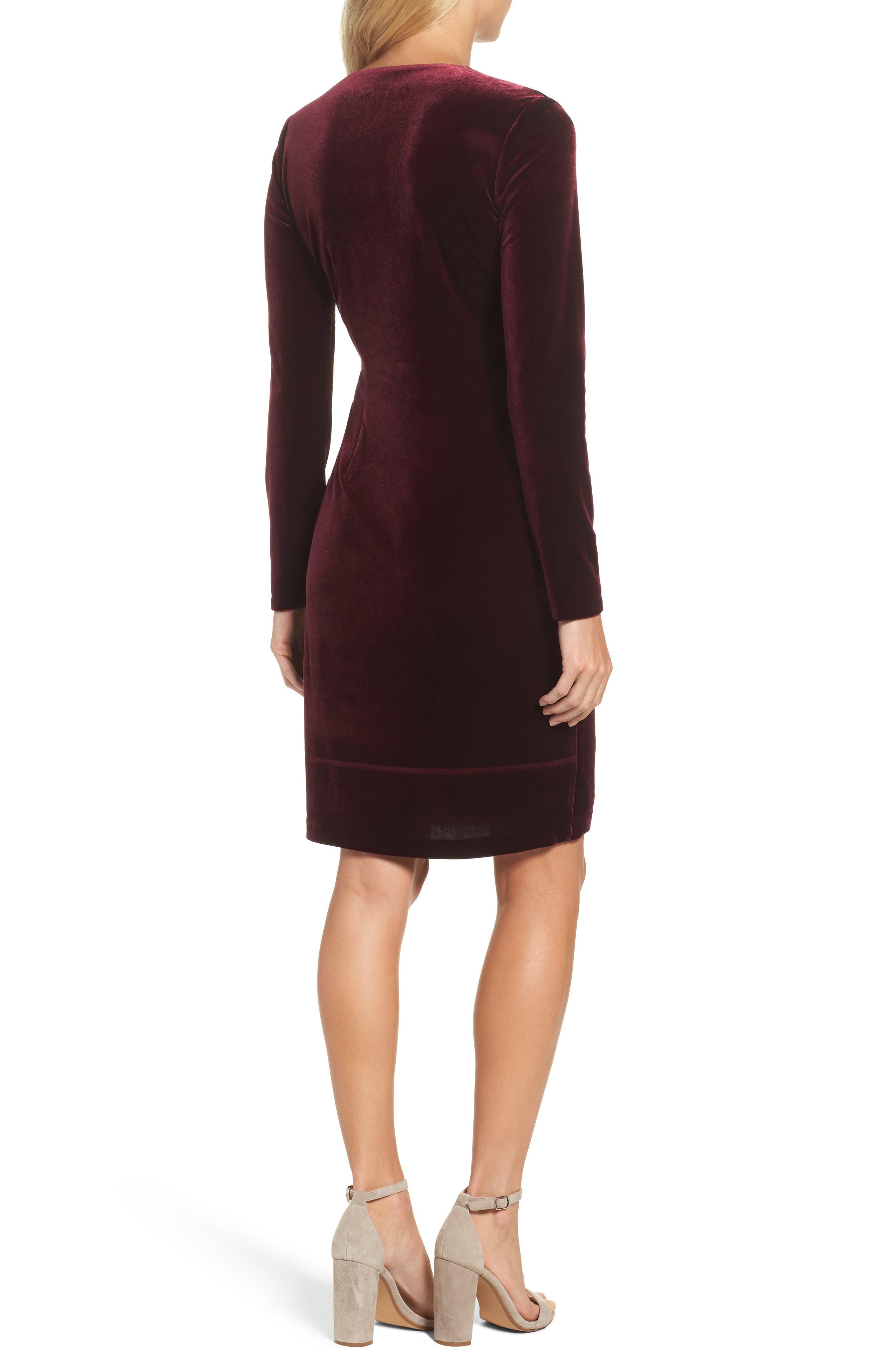 Velvet Faux Wrap Dress,                             Alternate thumbnail 2, color,                             931