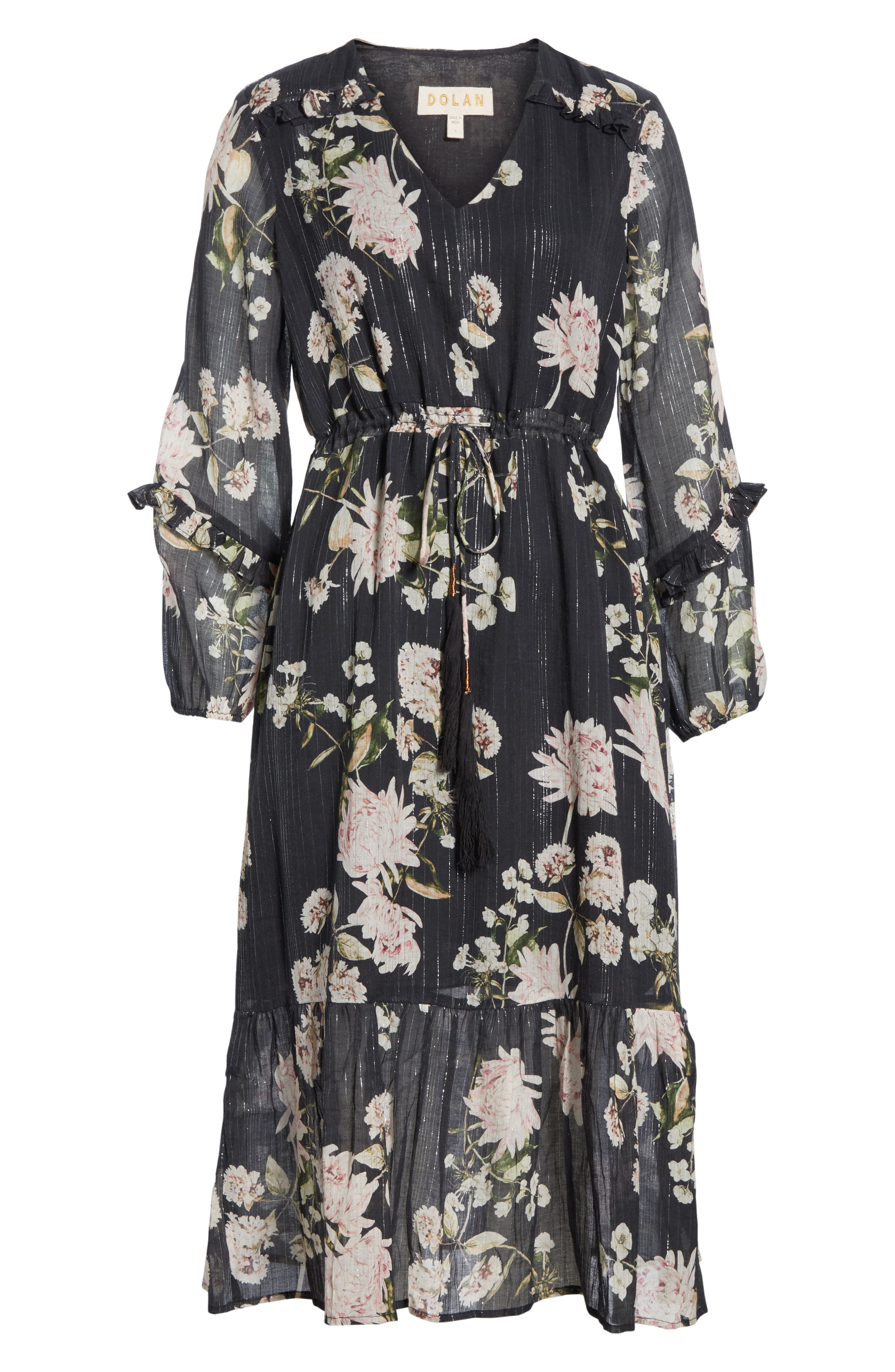 Ruffled Floral Midi Dress,                             Alternate thumbnail 6, color,                             BLACK CHRYSANTHEMUM