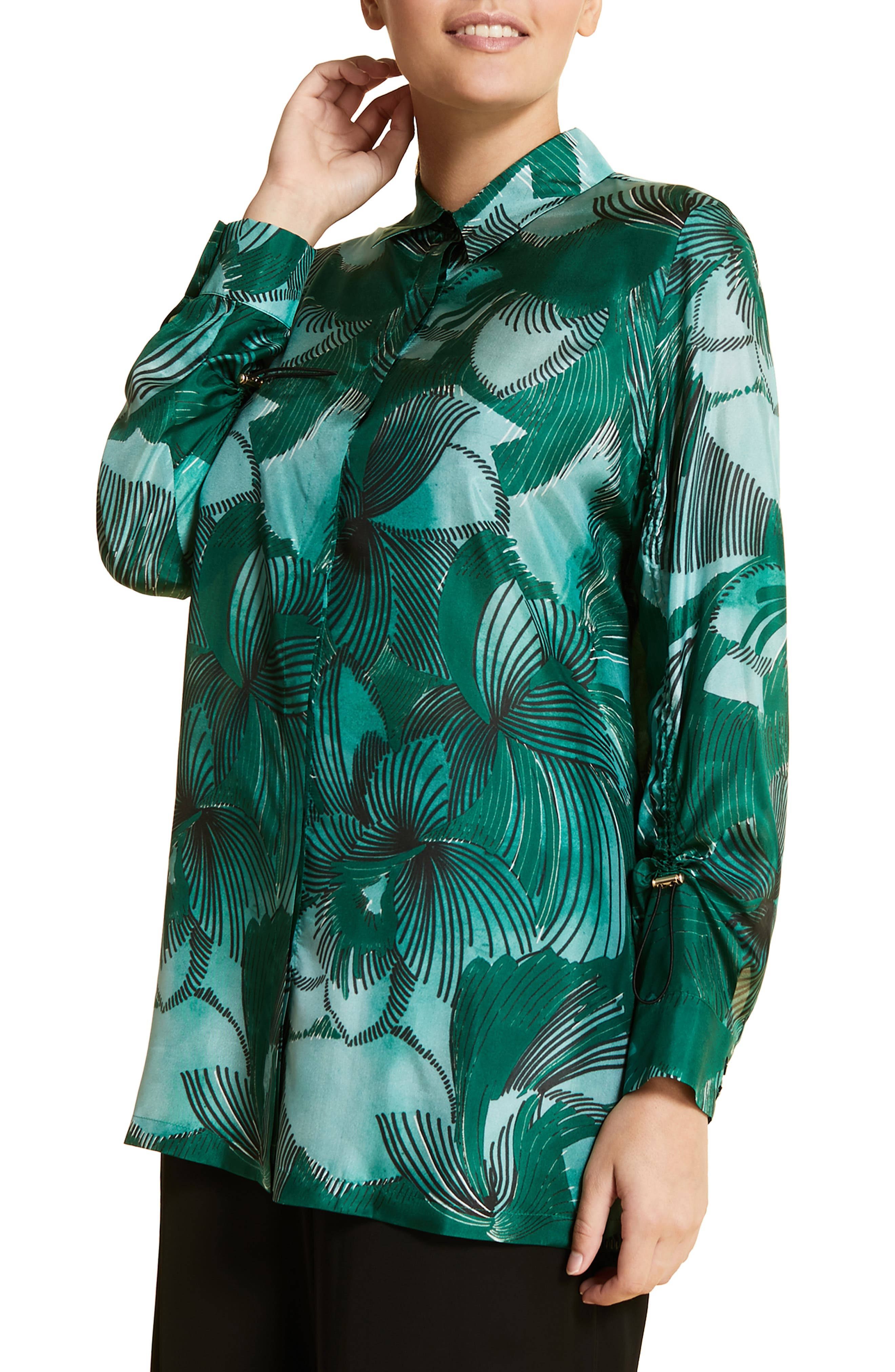 plus size women's marina rinaldi fiorenza silk shirt