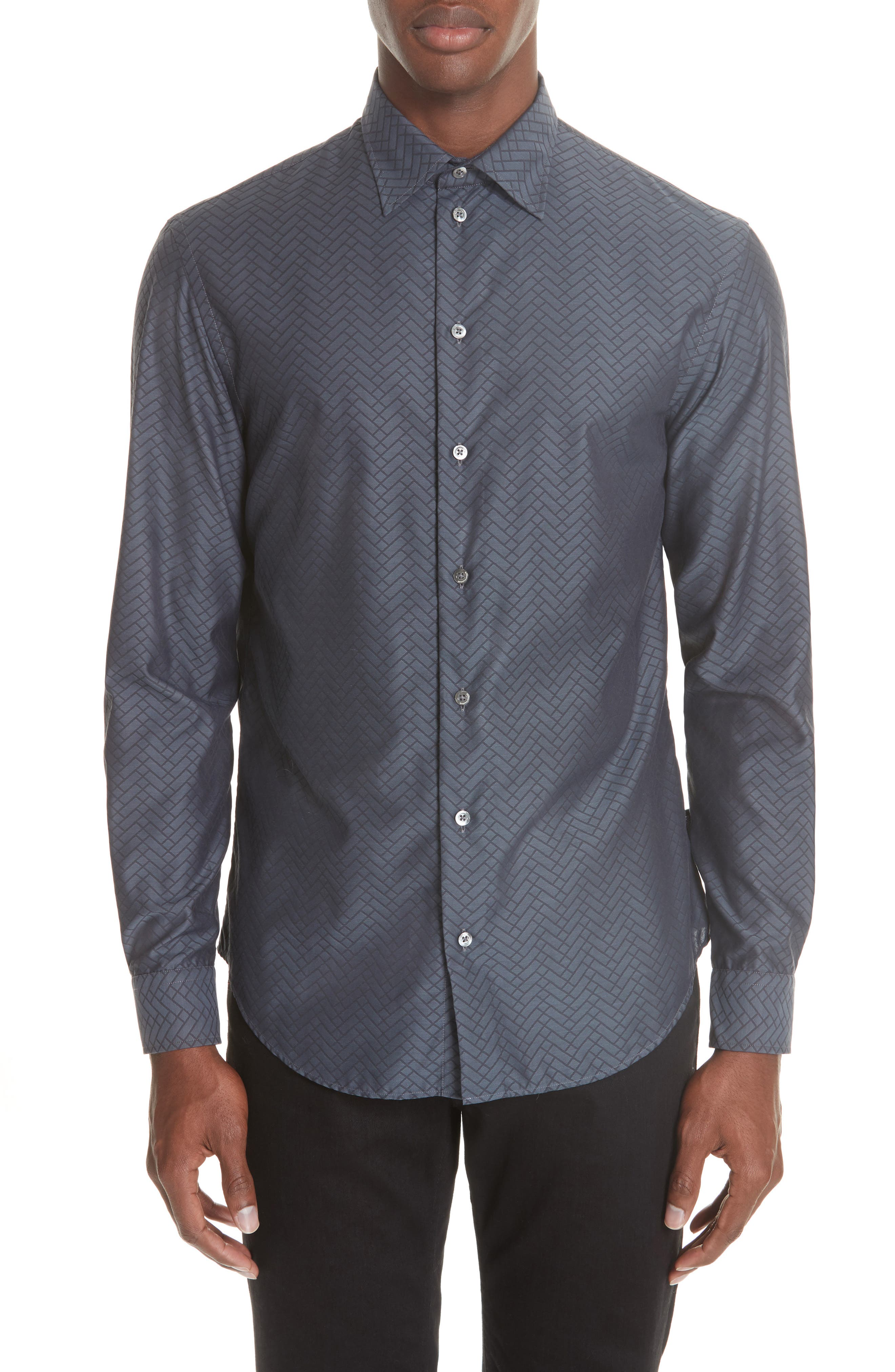 Regular Fit Geometric Sport Shirt,                         Main,                         color, GREY