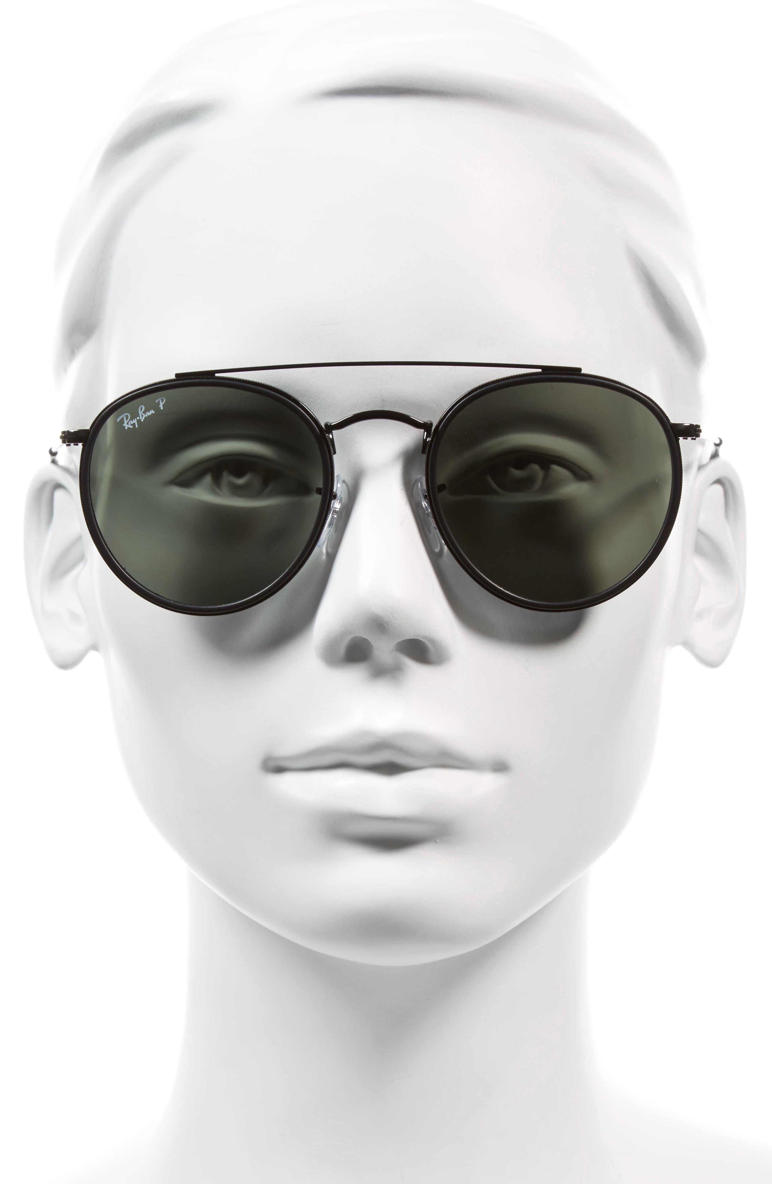 51mm Polarized Round Sunglasses,                             Alternate thumbnail 3, color,                             001