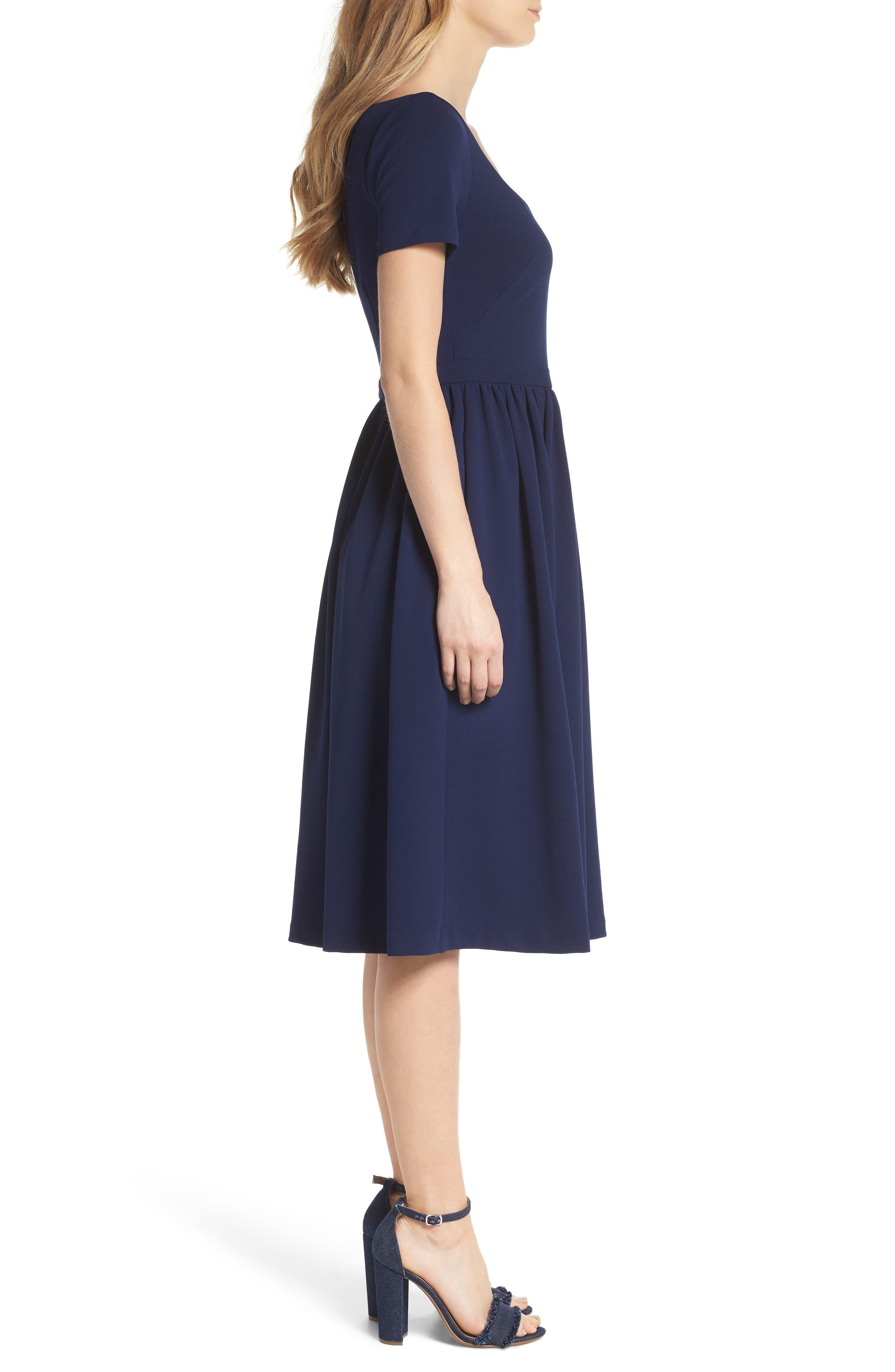 Annie Scuba Crepe Fit & Flare Dress,                             Alternate thumbnail 3, color,                             NAVY