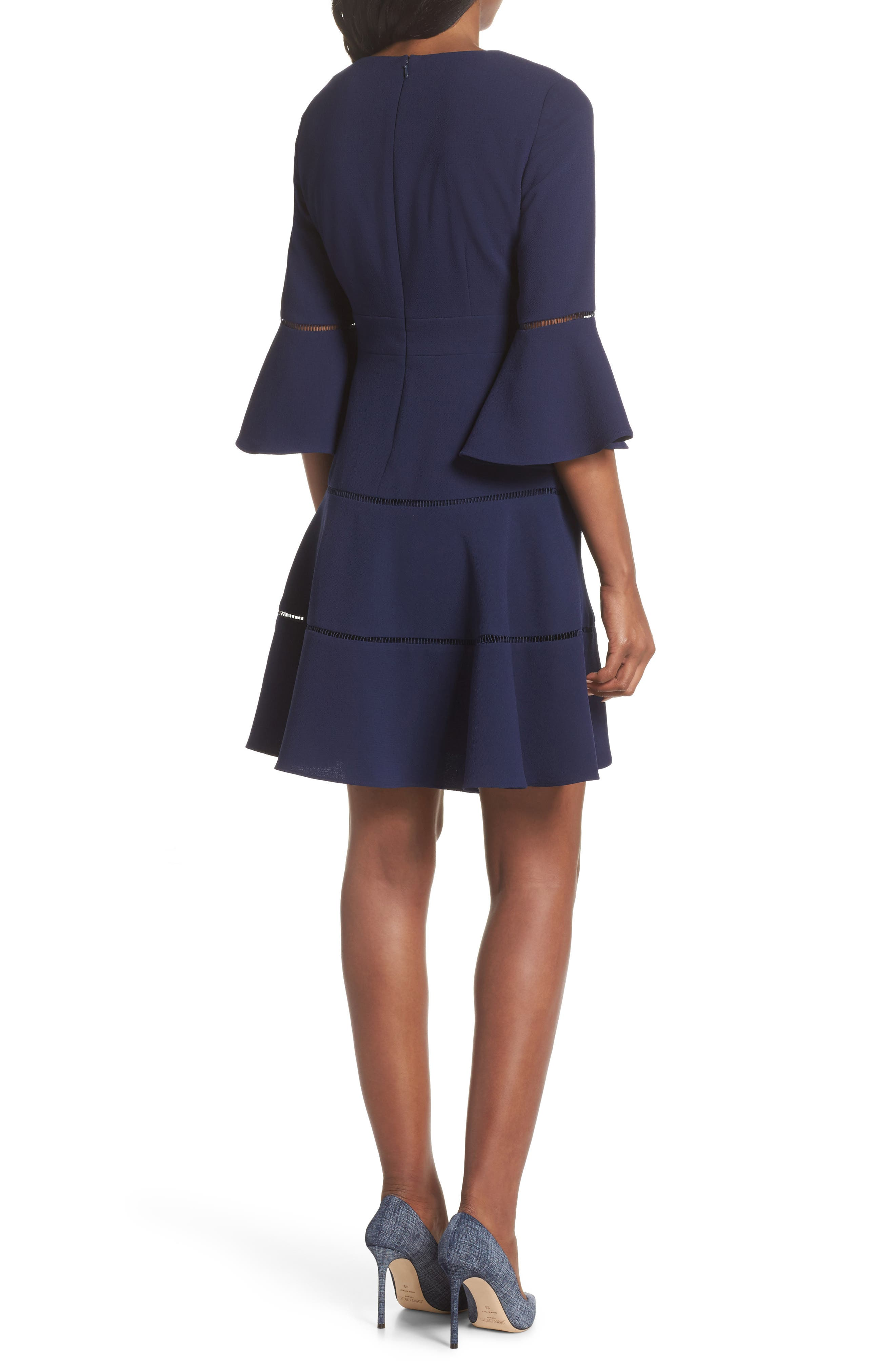 Lace Inset Fit & Flare Dress,                             Alternate thumbnail 2, color,                             NAVY