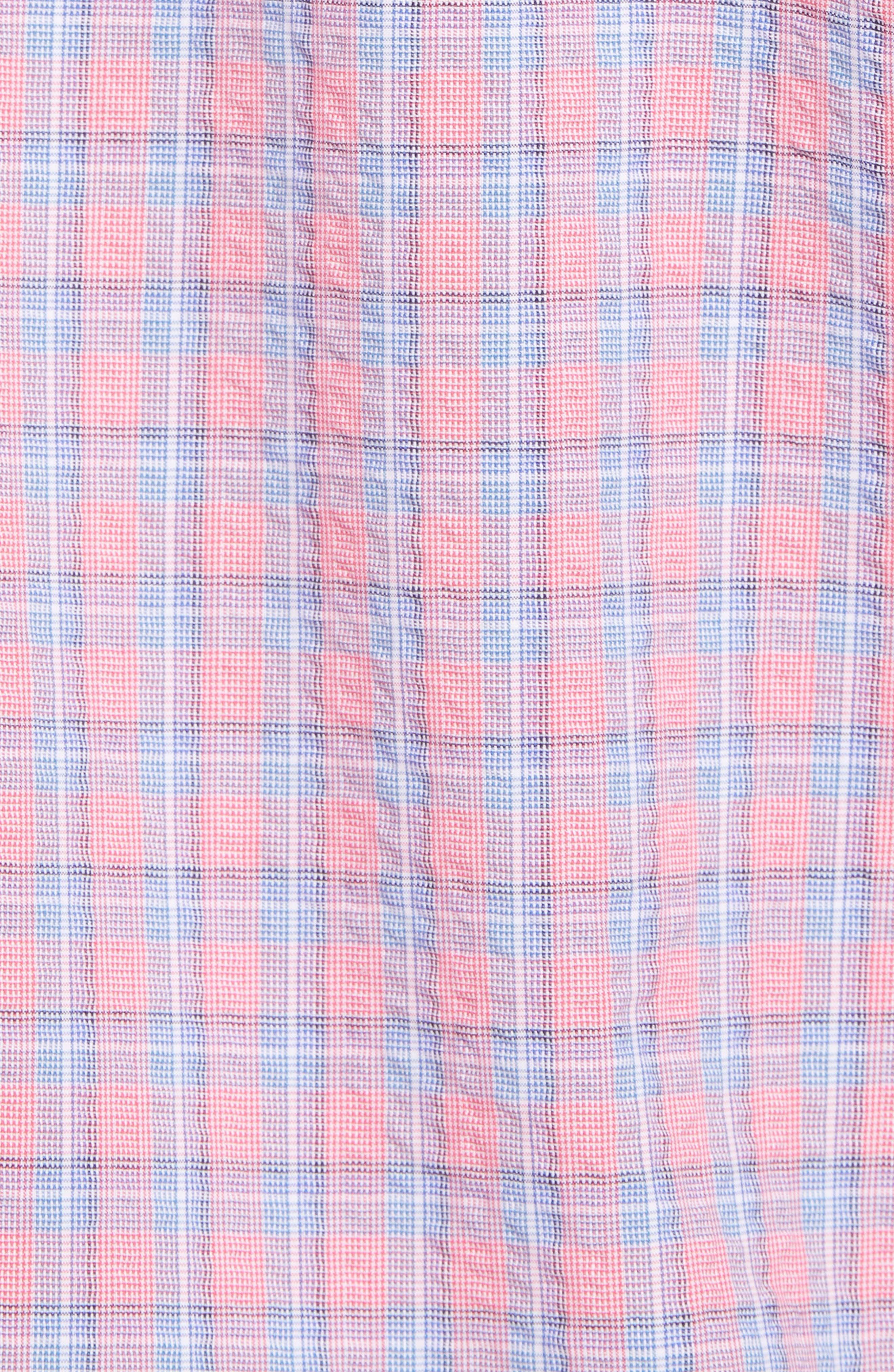 Luna Trim Fit Seersucker Sport Shirt,                             Alternate thumbnail 5, color,                             632