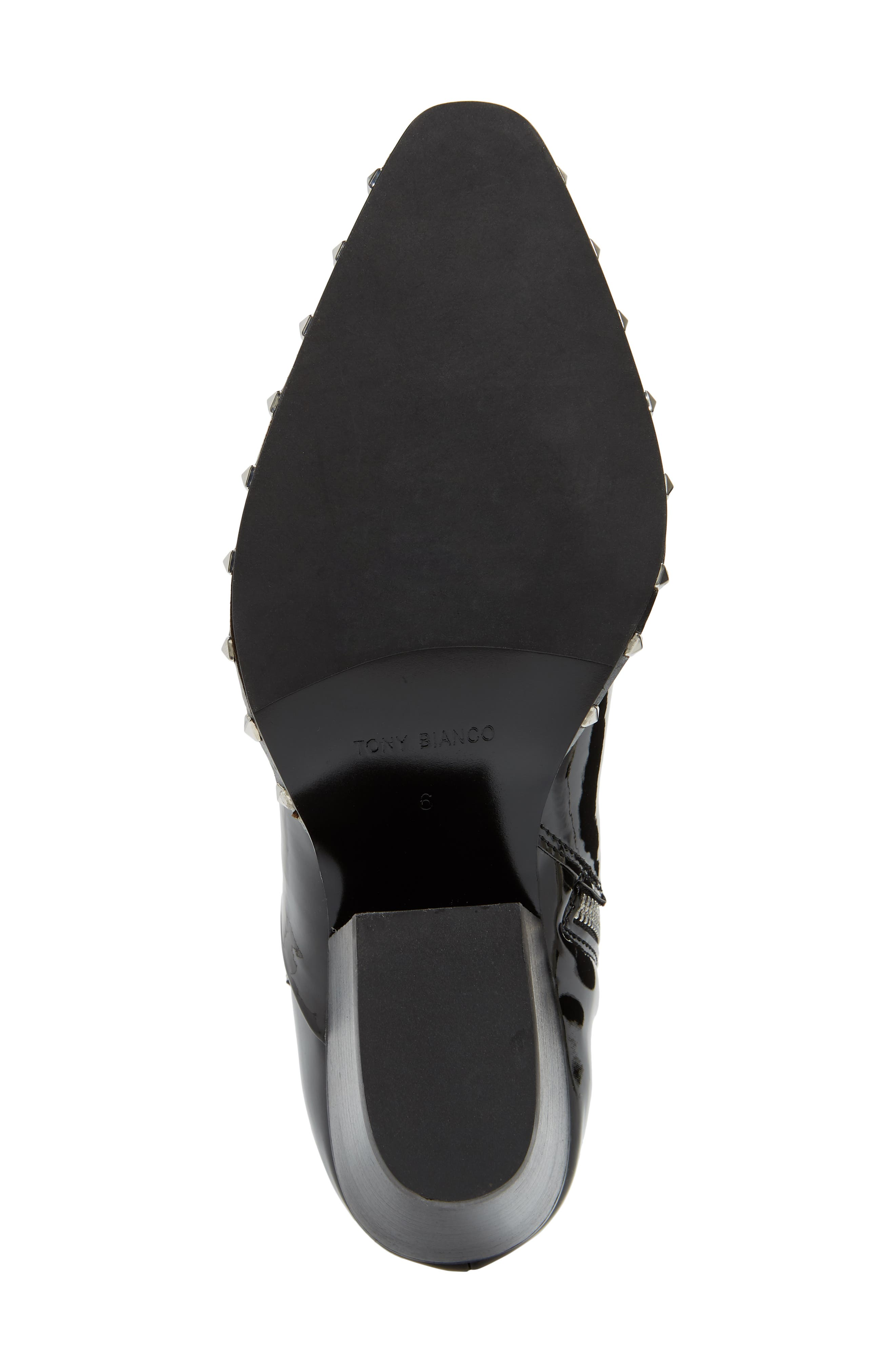 Haines Studded Bootie,                             Alternate thumbnail 6, color,                             MIDNIGHT PATENT LEATHER