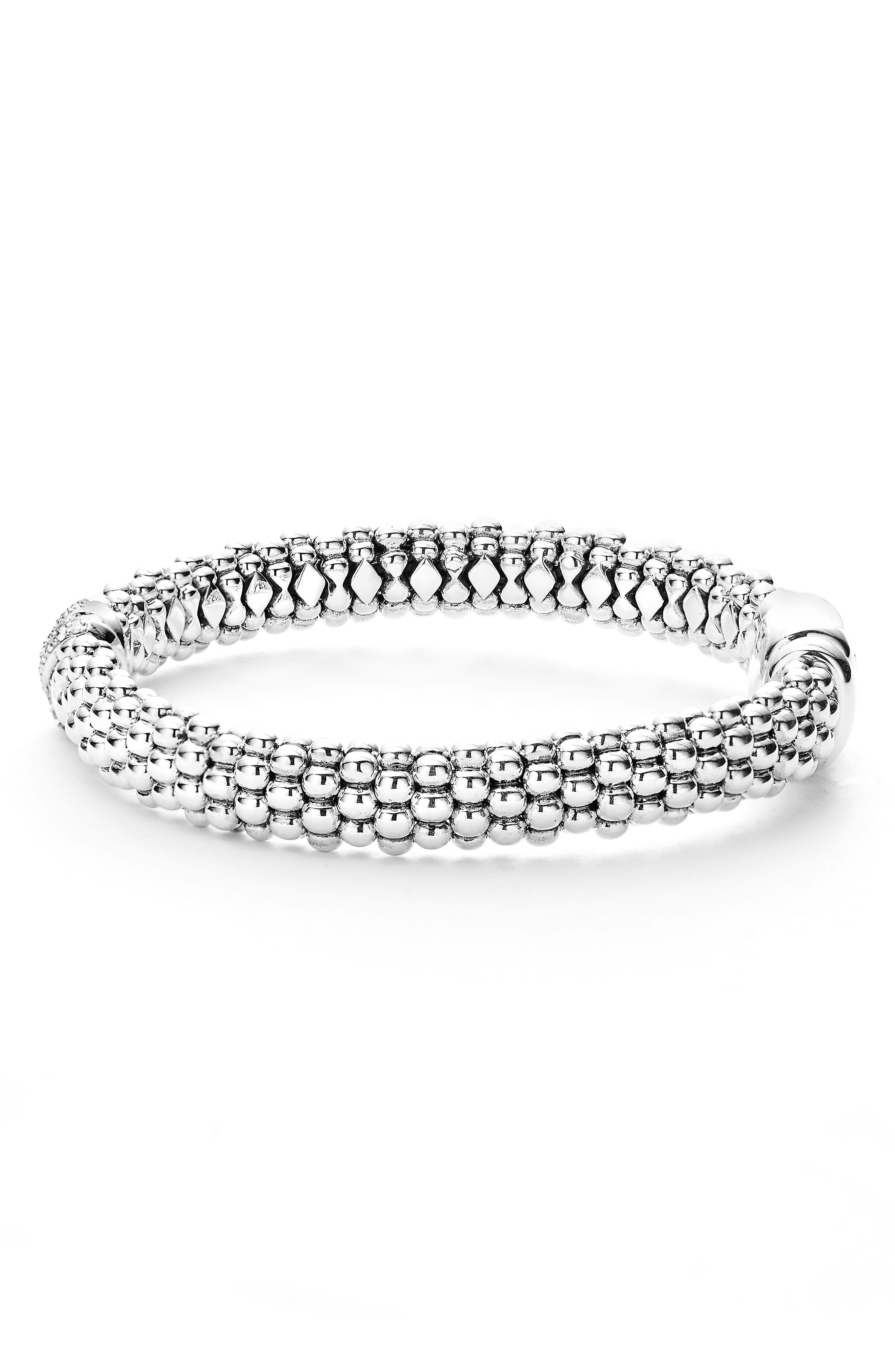 Diamond Lux Single Station X Bracelet,                             Alternate thumbnail 3, color,                             SILVER