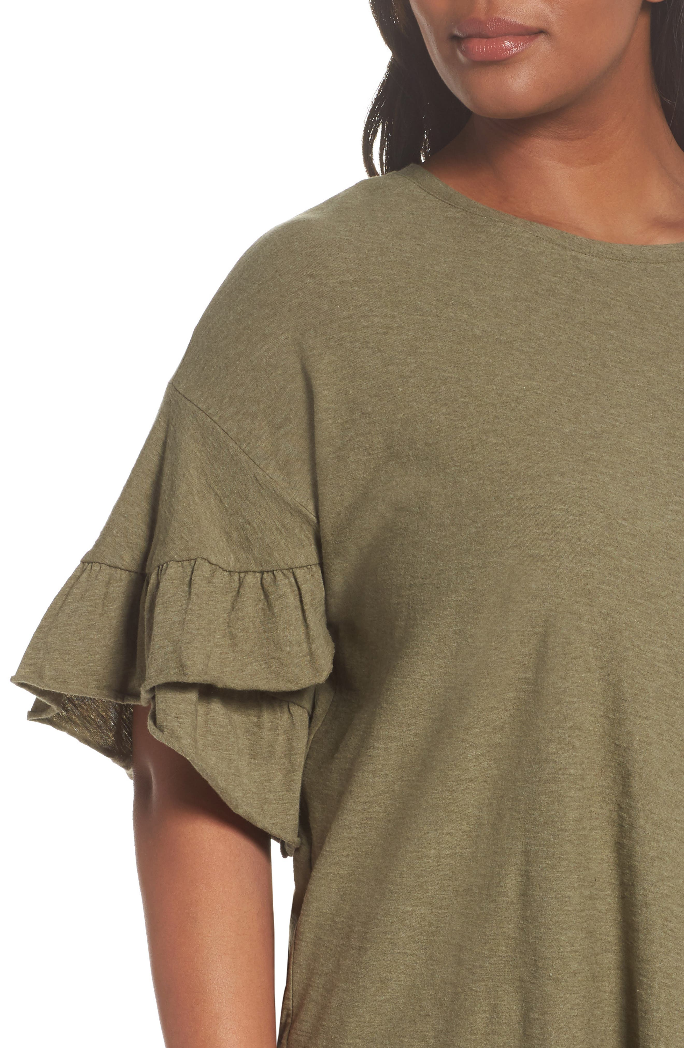 Drop Shoulder Tiered Ruffle Sleeve Top,                             Alternate thumbnail 8, color,