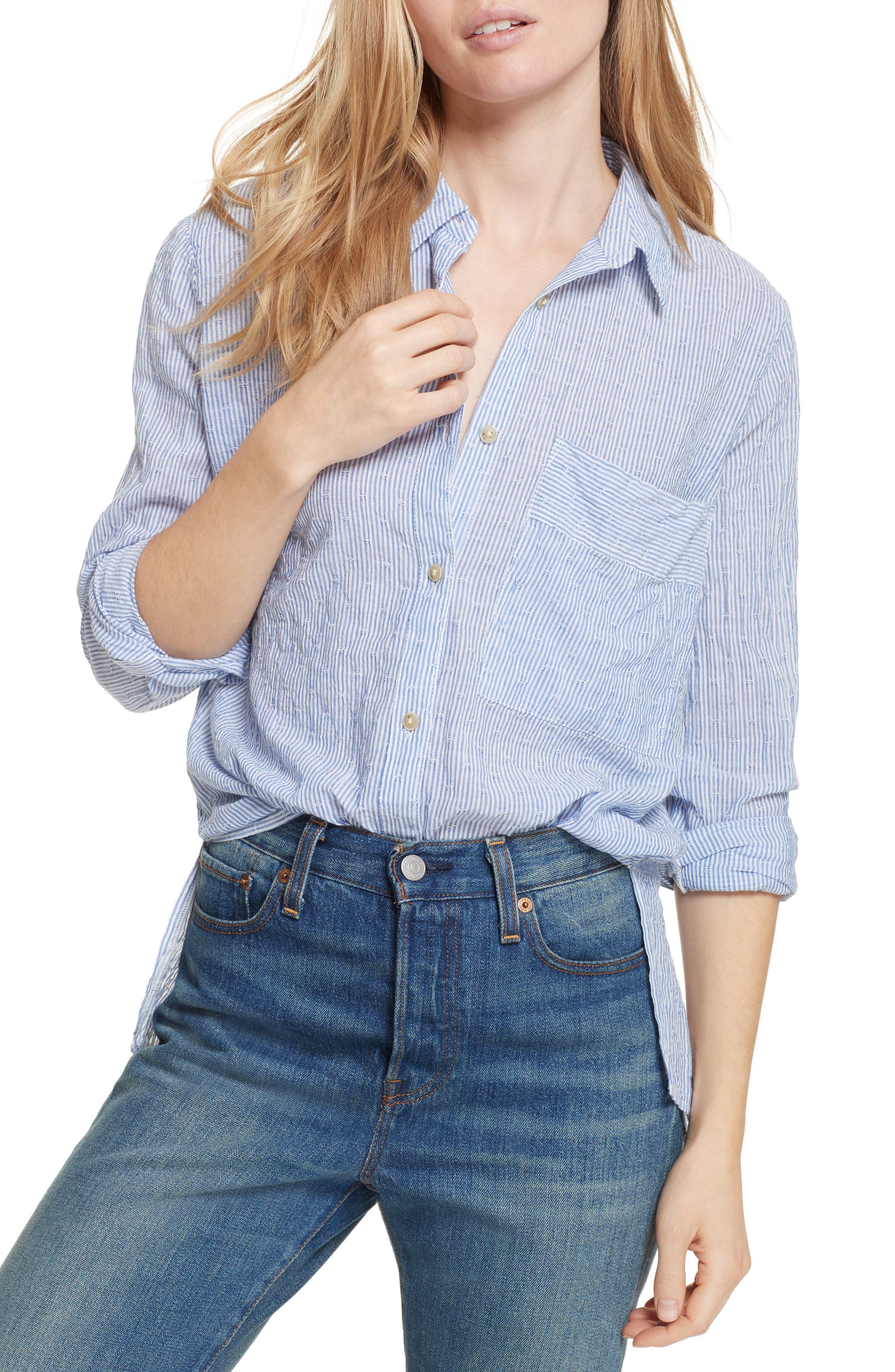 No Limits Stripe Stretch Cotton Shirt,                         Main,                         color, 400