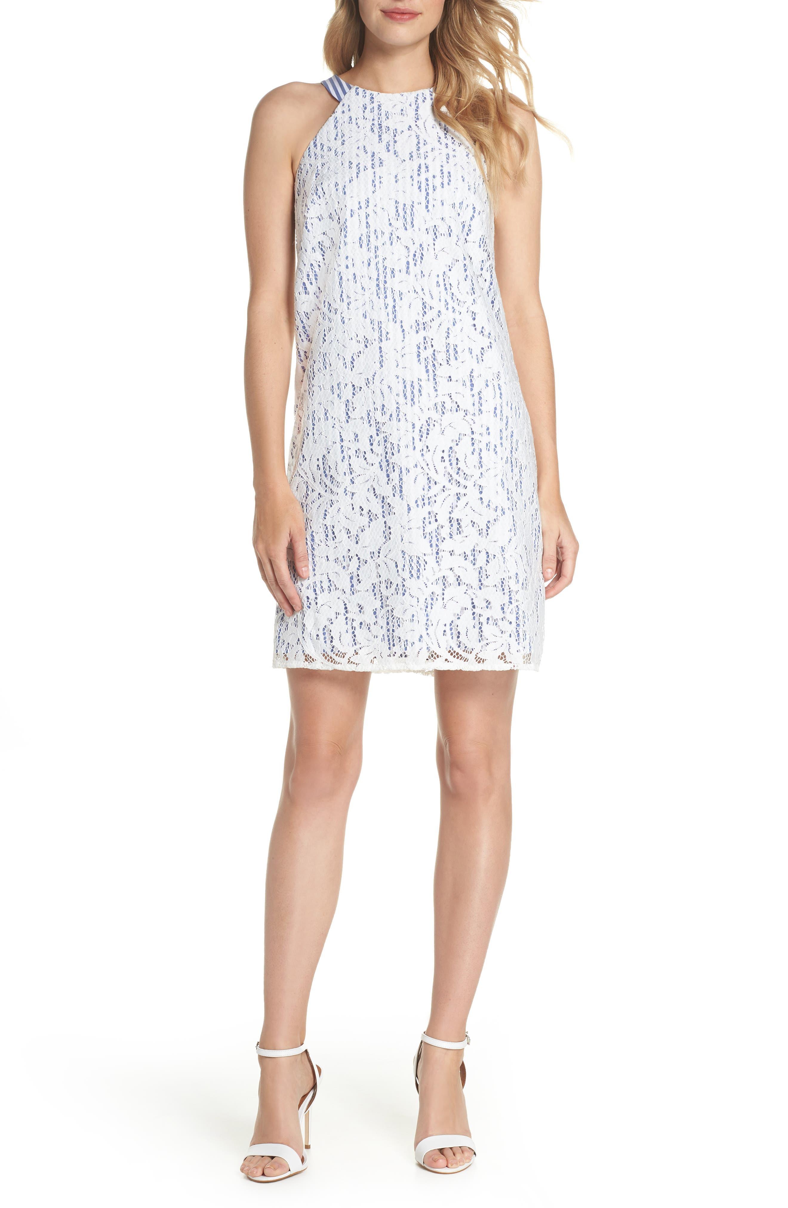 Pinstripe Lace Overlay Shift Dress,                             Main thumbnail 1, color,                             WHITE/ BLUE