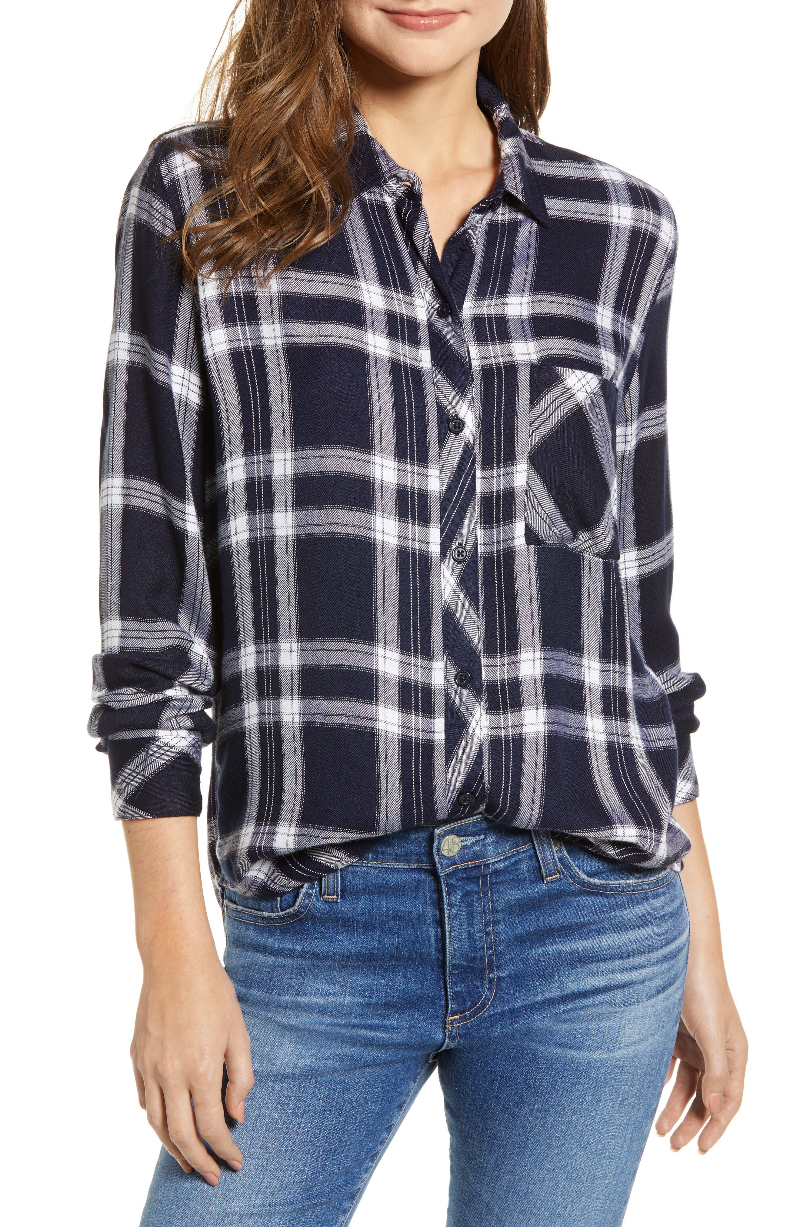 Liza Plaid Shirt,                             Main thumbnail 1, color,                             NAVY MIDNIGHT POWDER