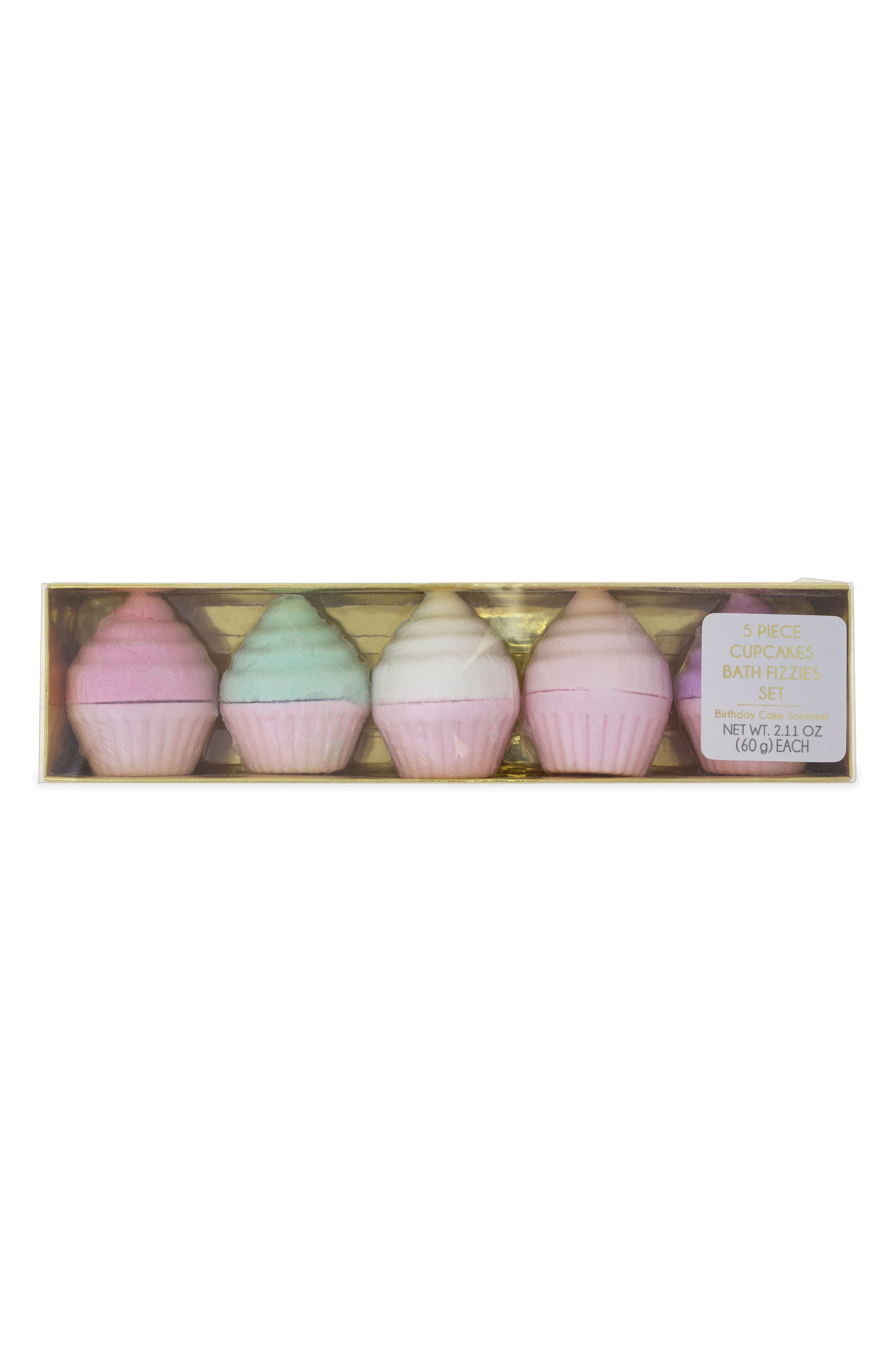 5-Piece Cupcake Bath Fizzies Set,                             Main thumbnail 1, color,                             650
