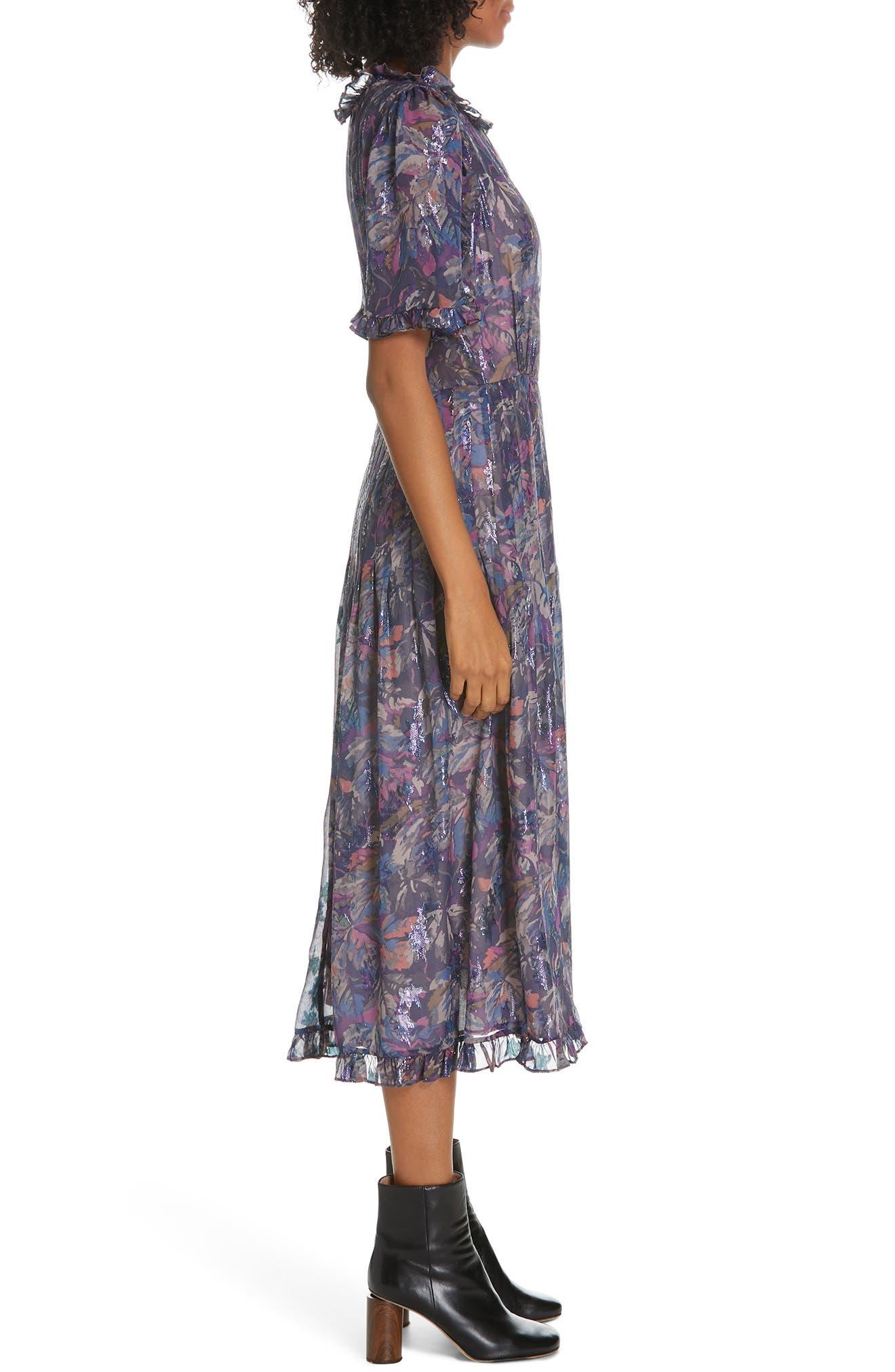Giverny Metallic Detail Silk Chiffon Dress,                             Alternate thumbnail 3, color,                             AMETHYST COMBO