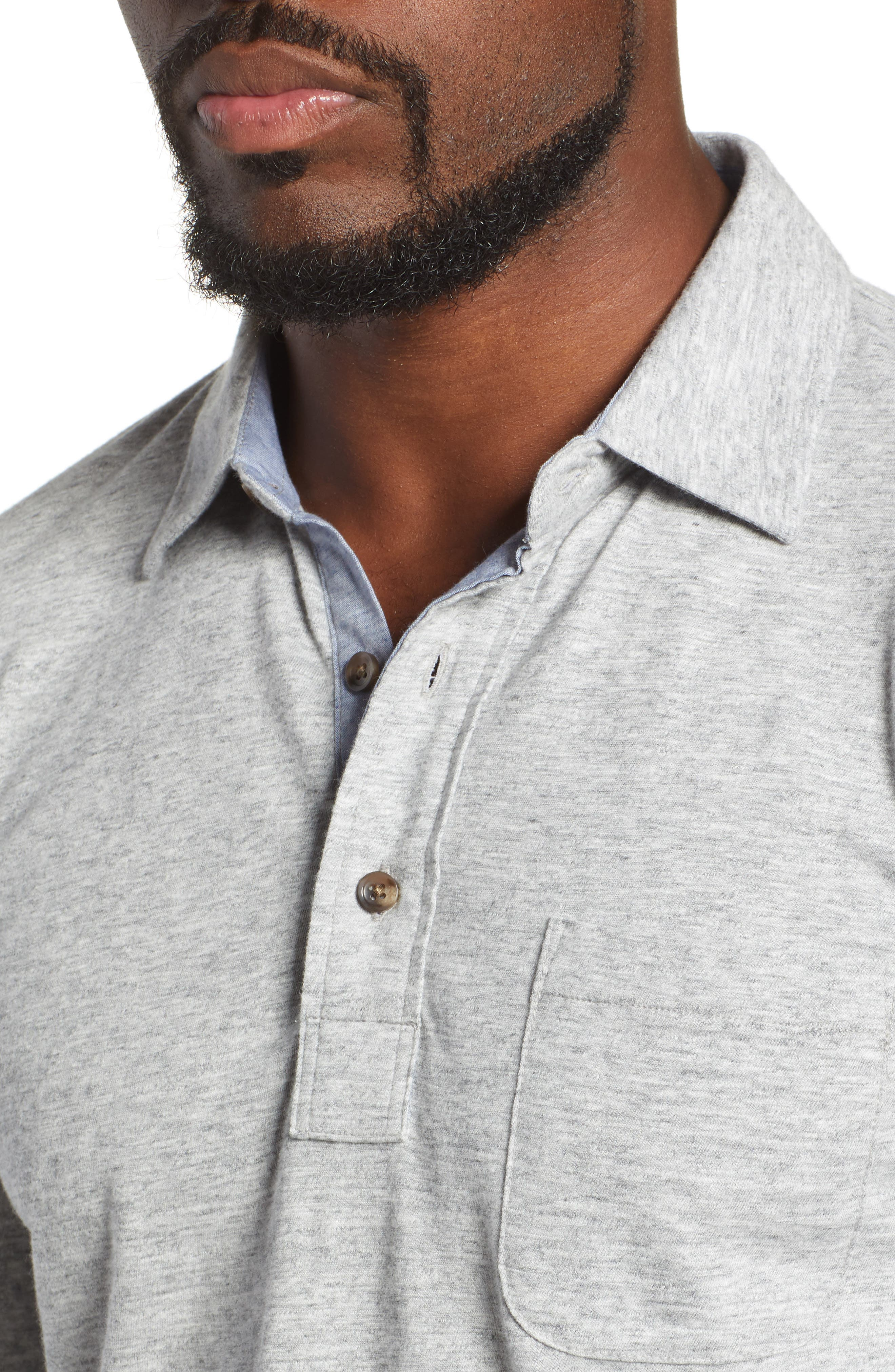 Luxe Heather Long Sleeve Polo,                             Alternate thumbnail 4, color,                             ATHLETIC GREY