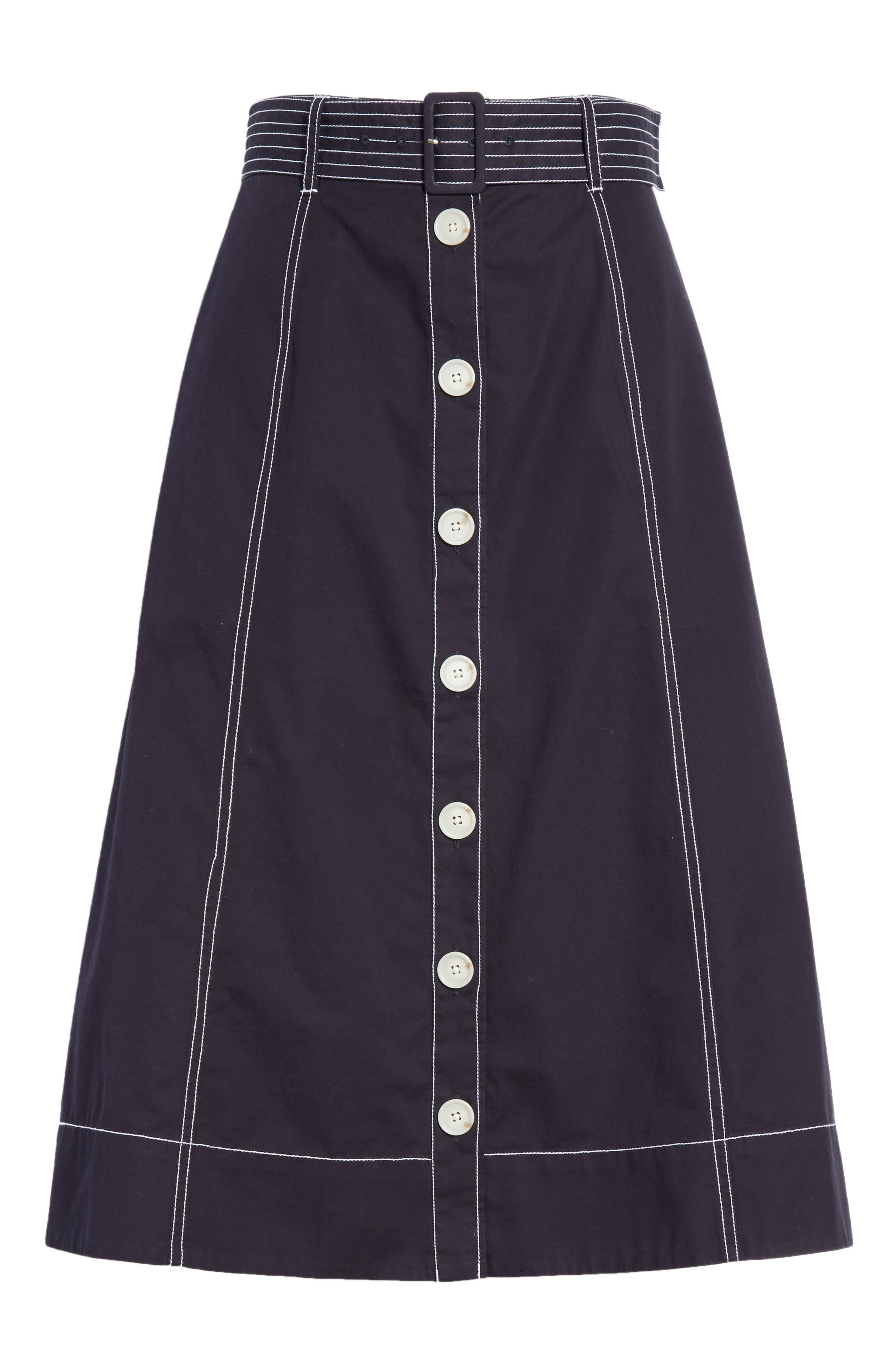 Mayaly Belted Cotton Skirt,                             Alternate thumbnail 6, color,                             MIDNIGHT