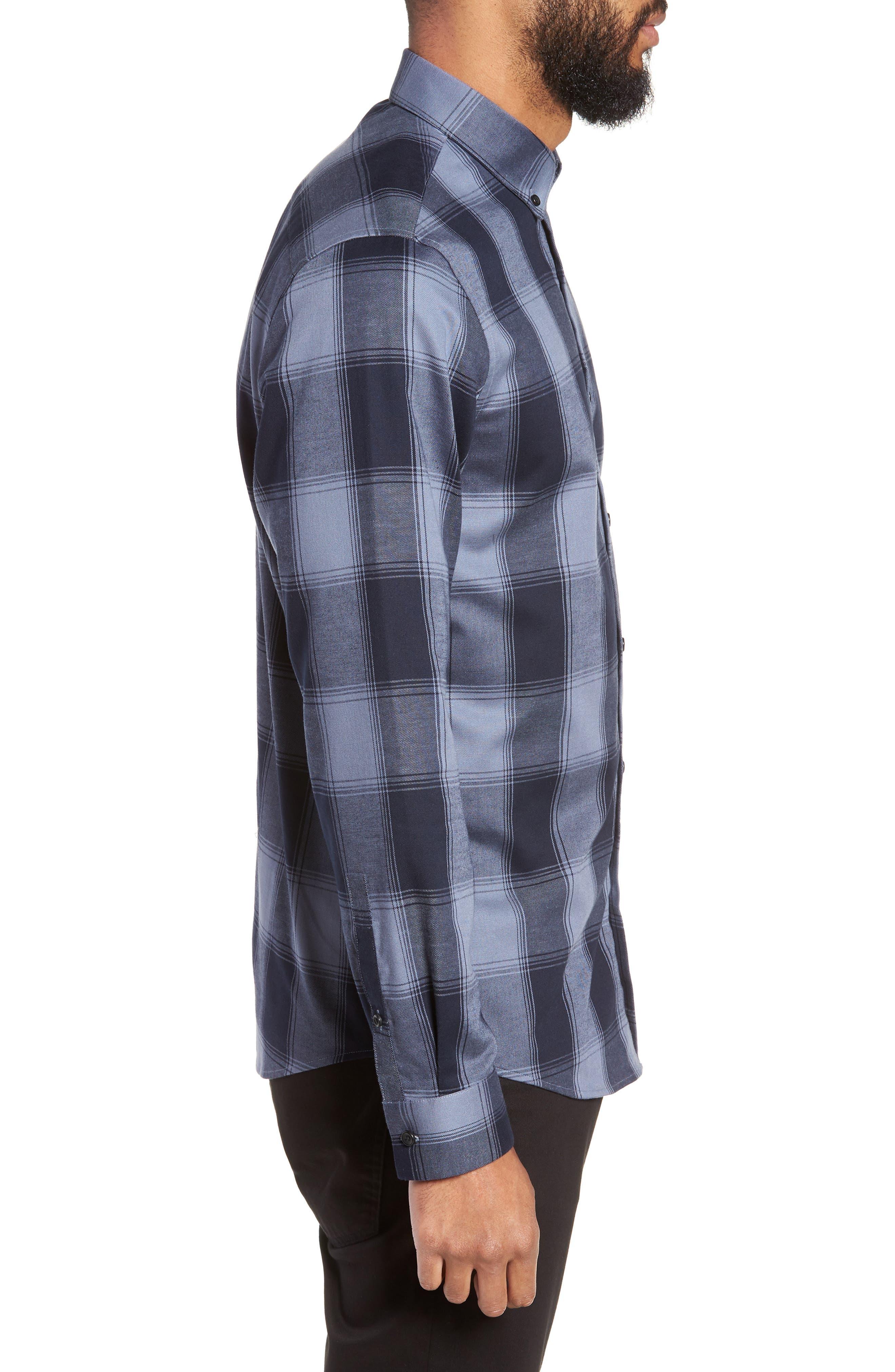 Slim Fit Mini Collar Buffalo Check Flannel Sport Shirt,                             Alternate thumbnail 3, color,                             GREY FOLKSTONE NAVY BUFFALO