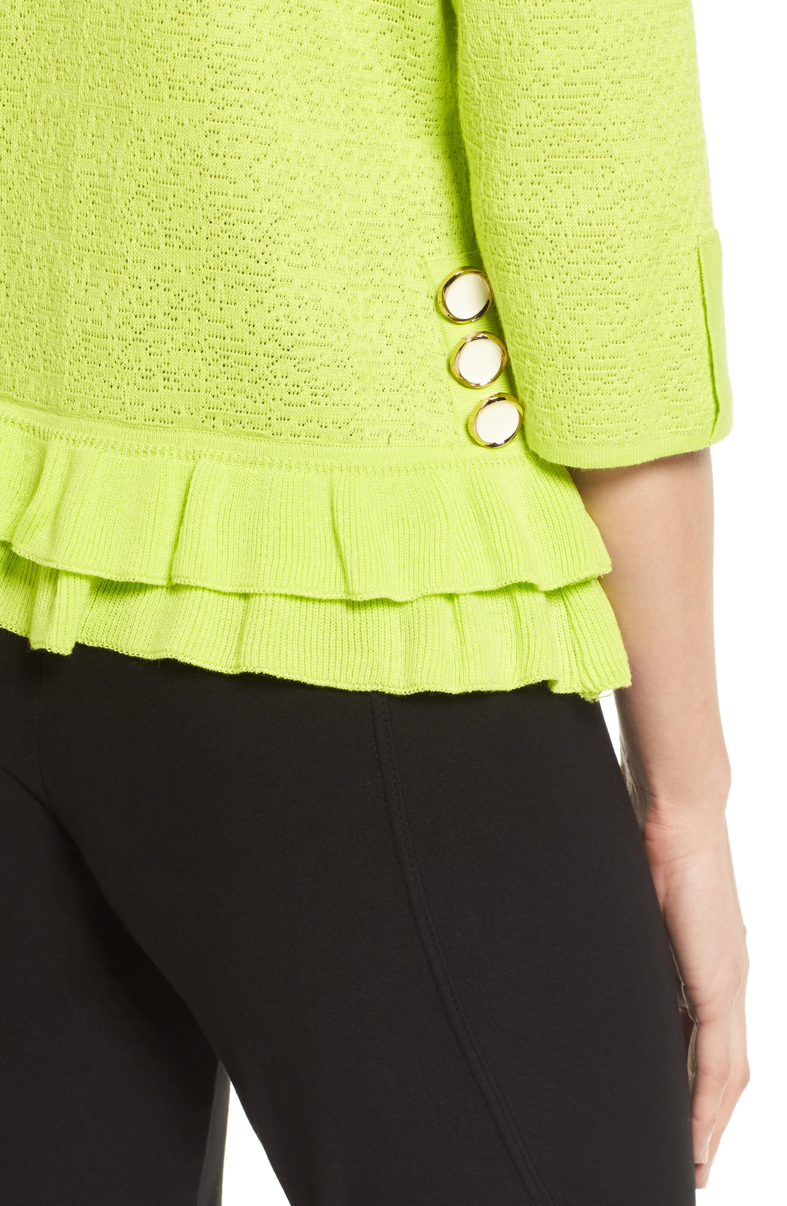 Button Detail Ruffle Sweater,                             Alternate thumbnail 4, color,                             321