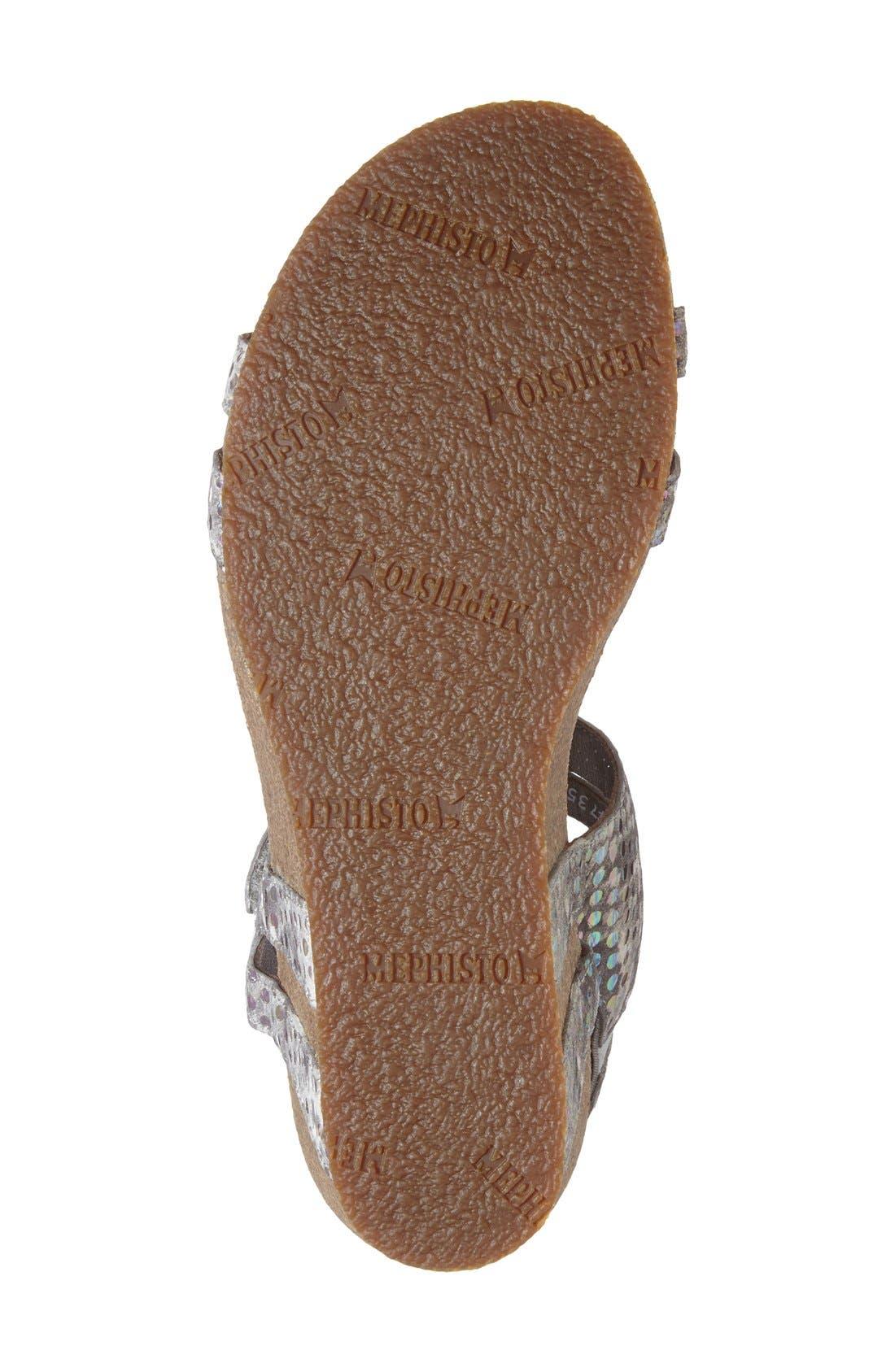 MEPHISTO,                             'Minoa' Wedge Sandal,                             Alternate thumbnail 4, color,                             LIGHT GREY MIMOSA