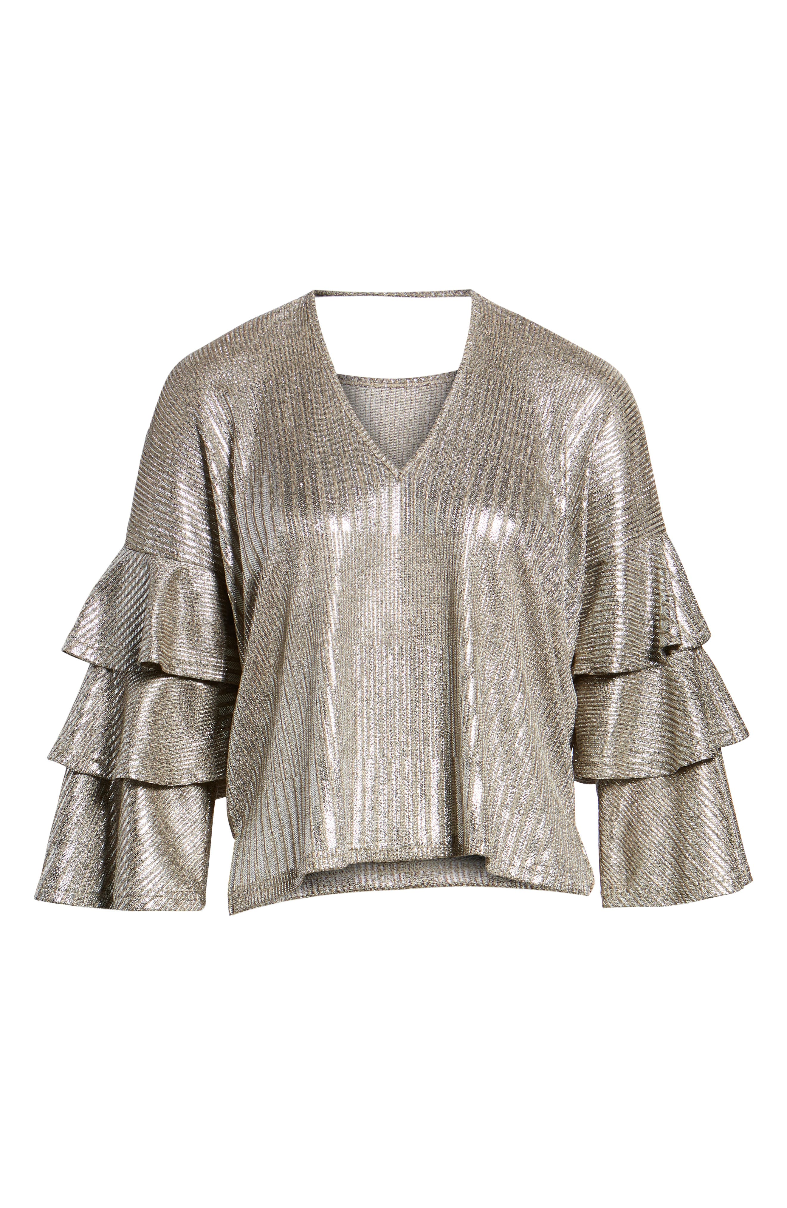 Metallic Tiered Ruffle Sleeve Top,                             Alternate thumbnail 6, color,                             METALLIC