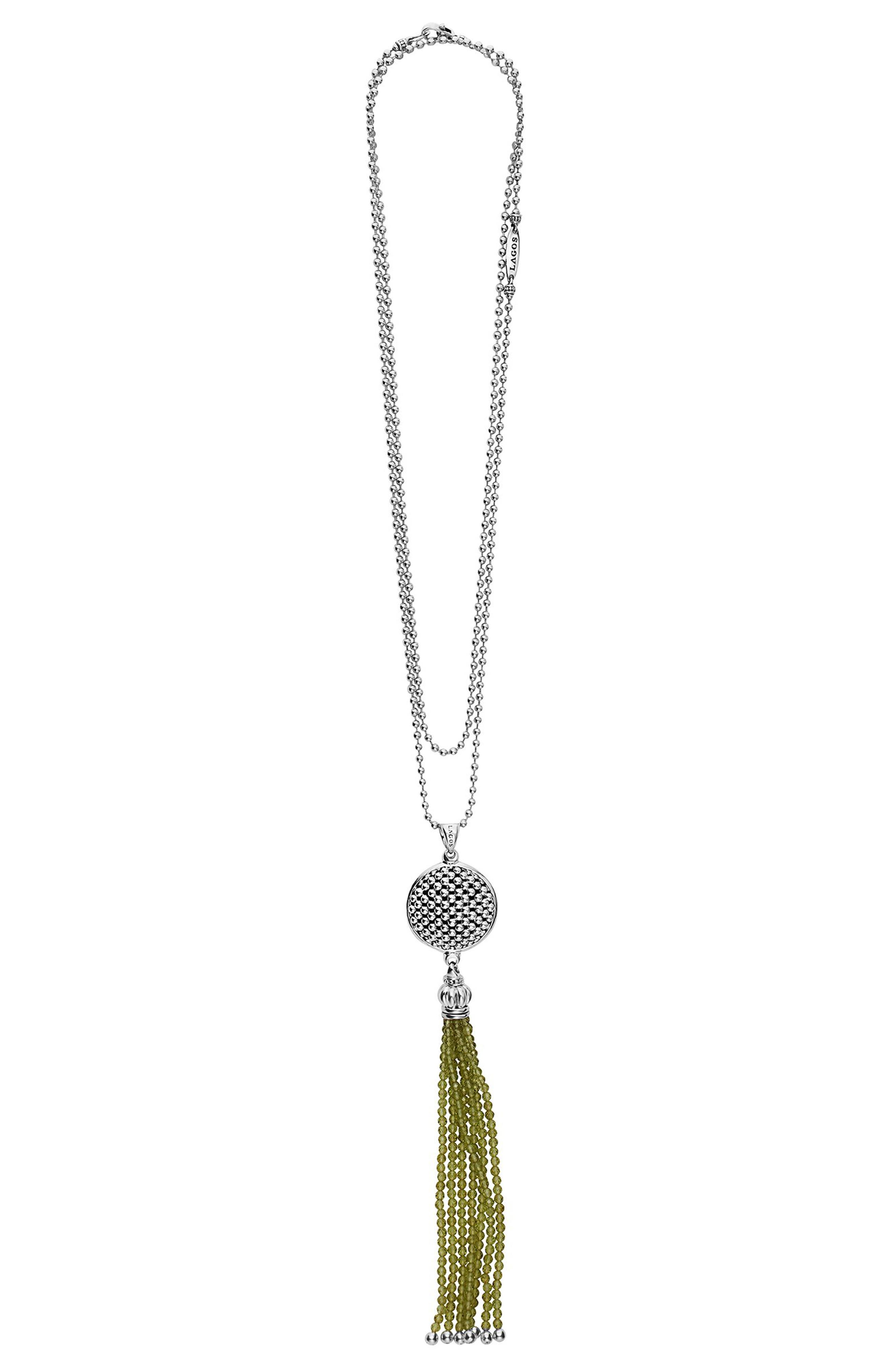 Caviar Icon Tassel Pendant Necklace,                             Alternate thumbnail 3, color,                             PERIDOT