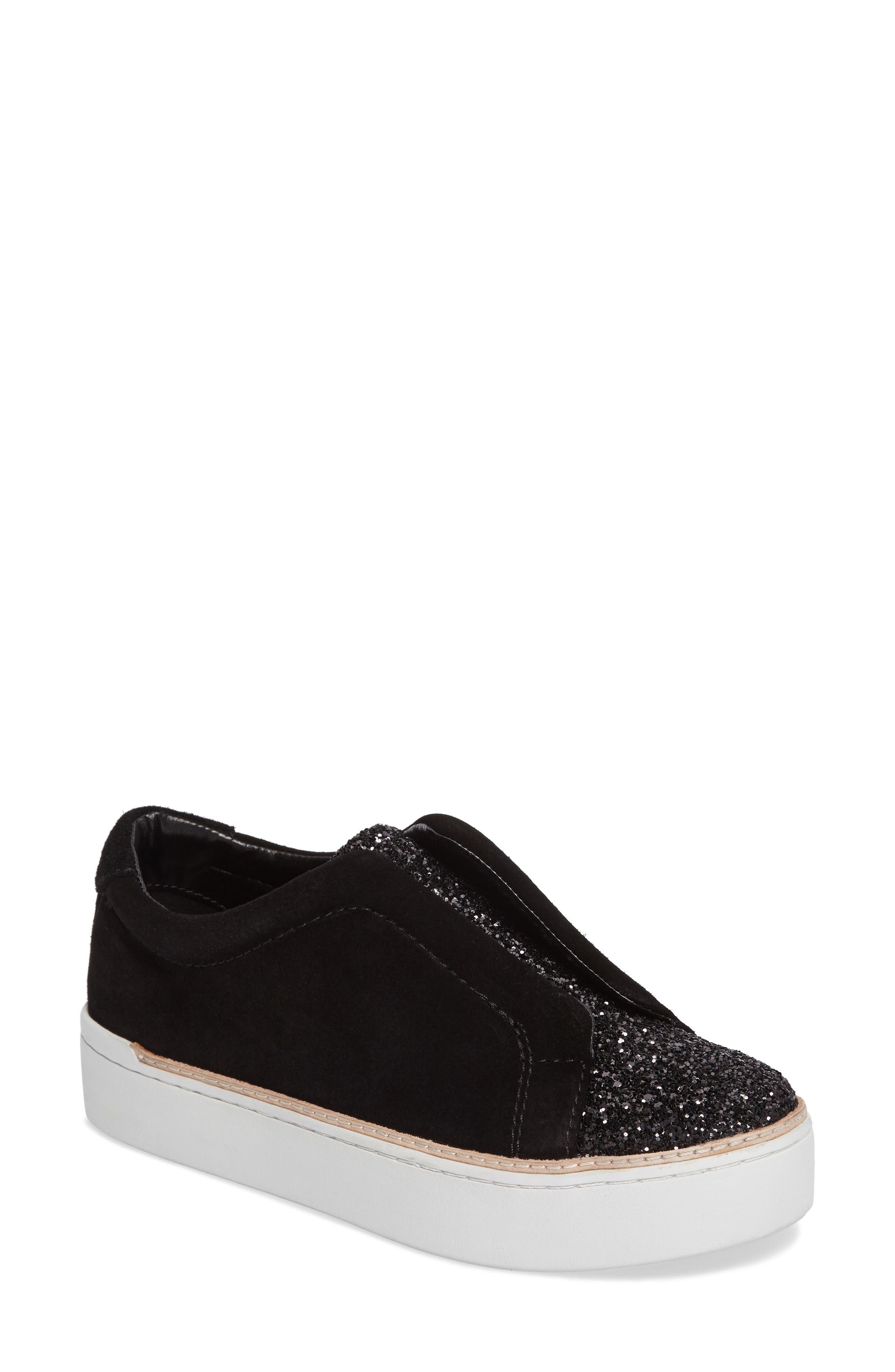 M4D3 Super Slip-On Sneaker,                             Main thumbnail 1, color,                             BLACK GLITTER LEATHER