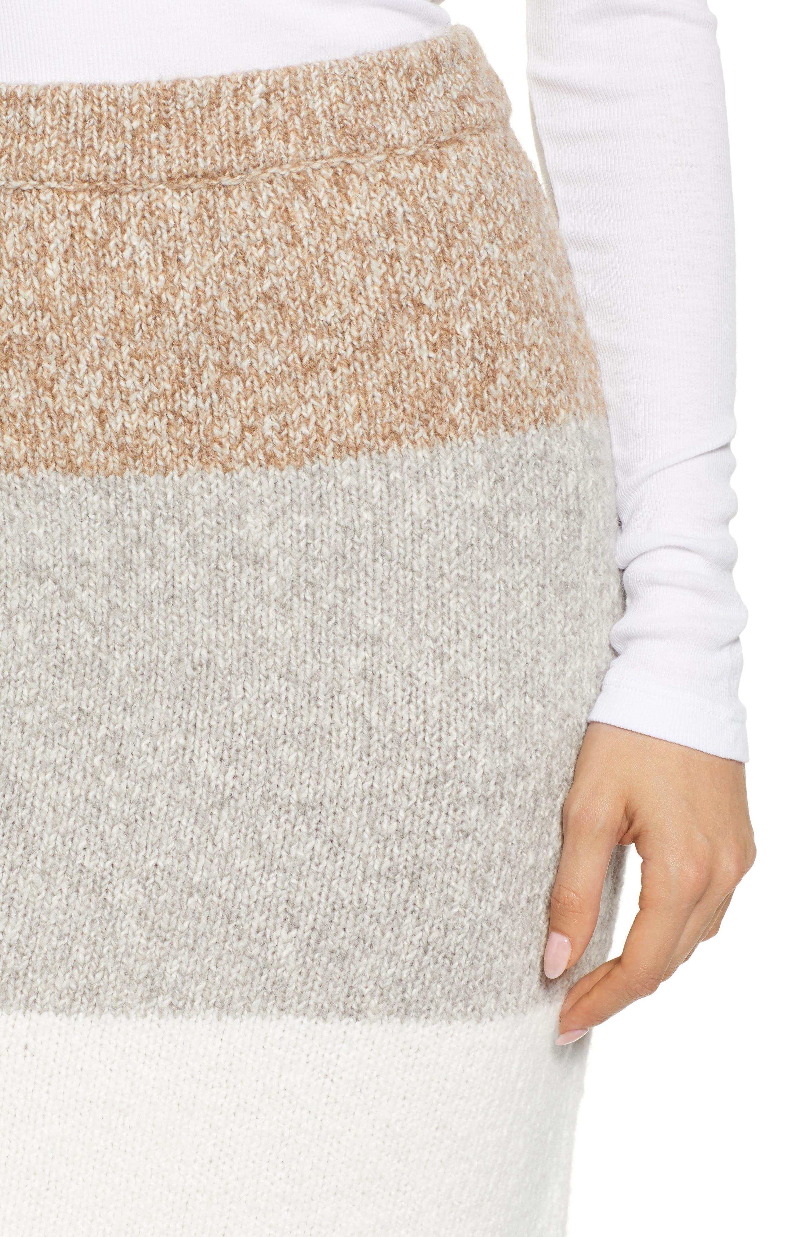 LOU & GREY,                             Stripemarl Sweater Skirt,                             Alternate thumbnail 4, color,                             IVORY